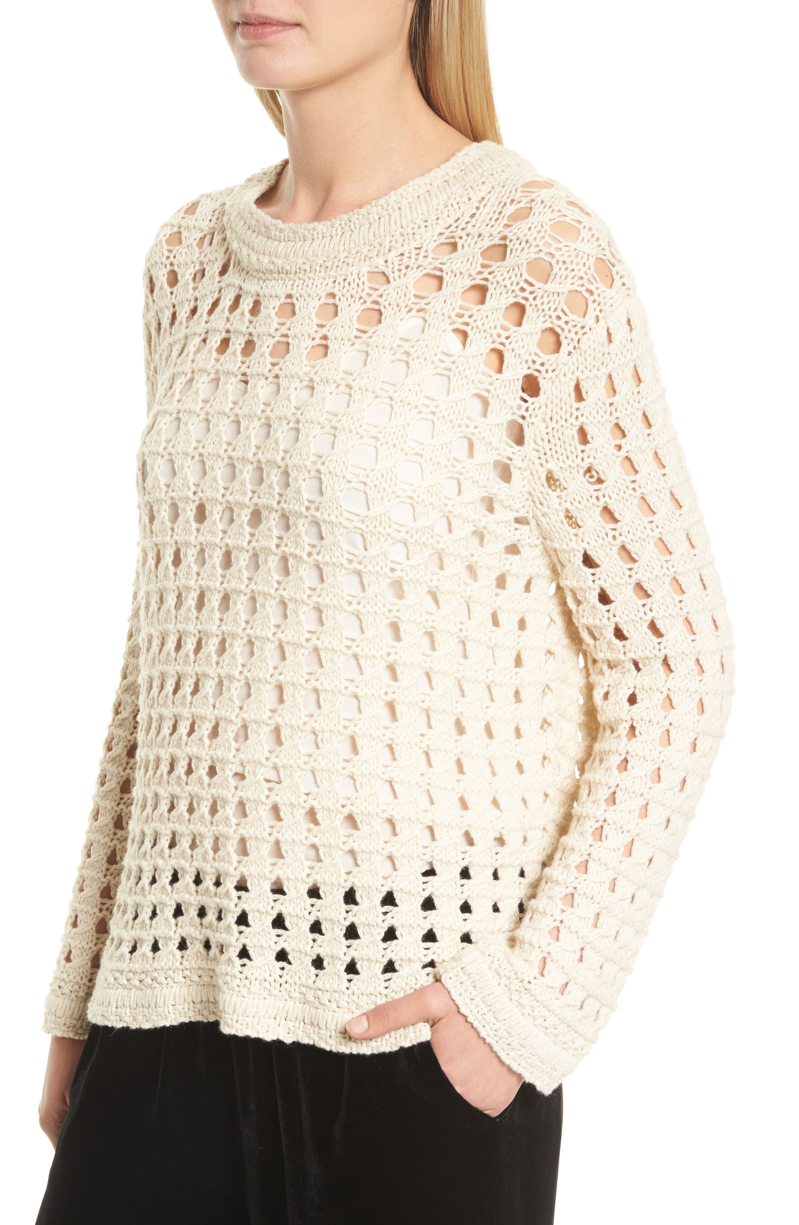 Macha Open Stitch Cotton & Alpaca Sweater,                             Alternate thumbnail 4, color,                             900