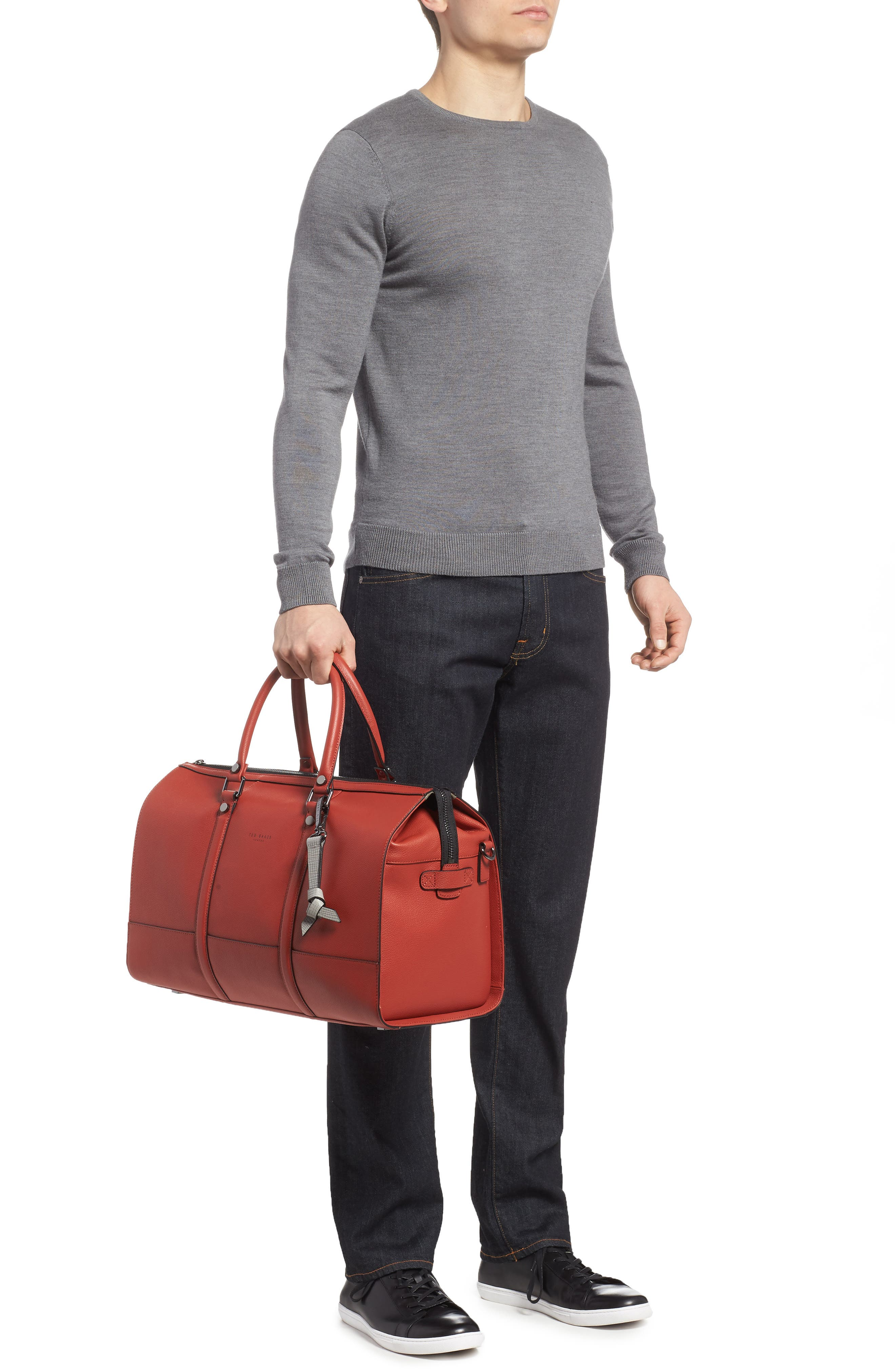 Leather Duffel Bag,                             Alternate thumbnail 6, color,