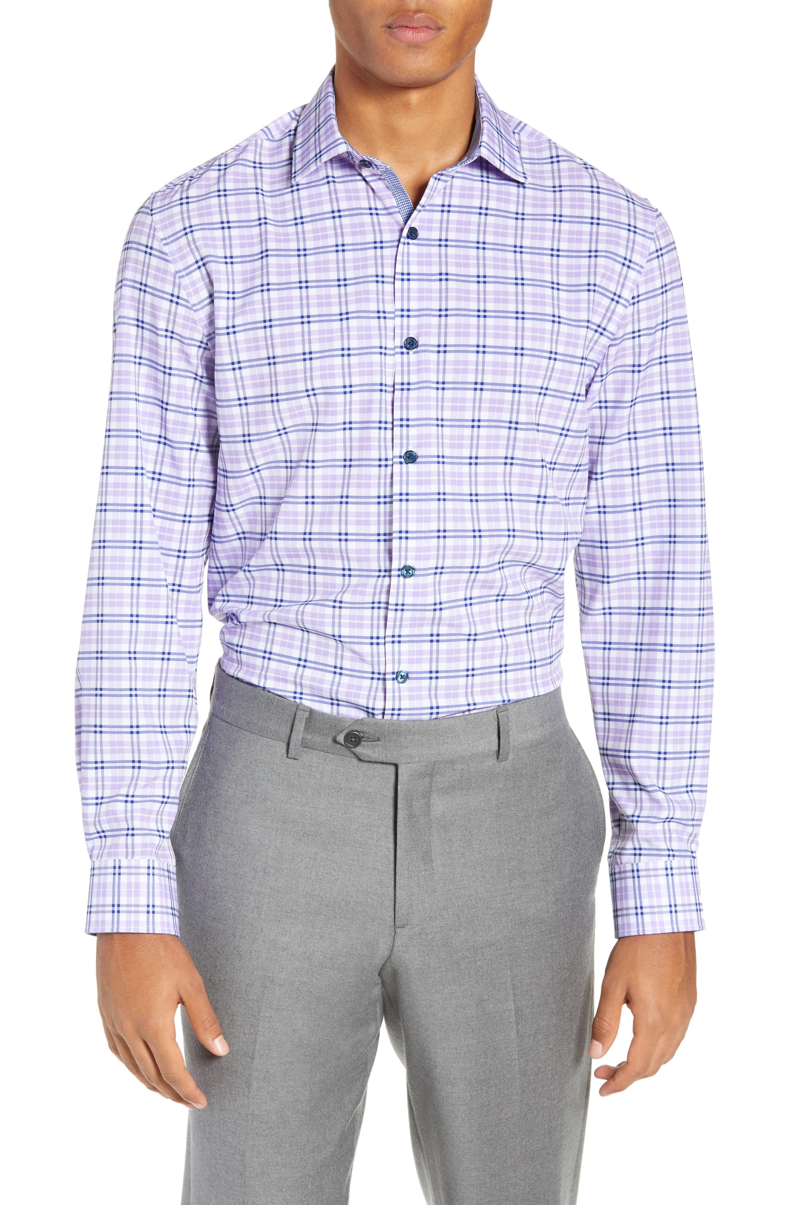 Trim Fit 4-Way Stretch Plaid Dress Shirt,                             Main thumbnail 1, color,                             PURPLE
