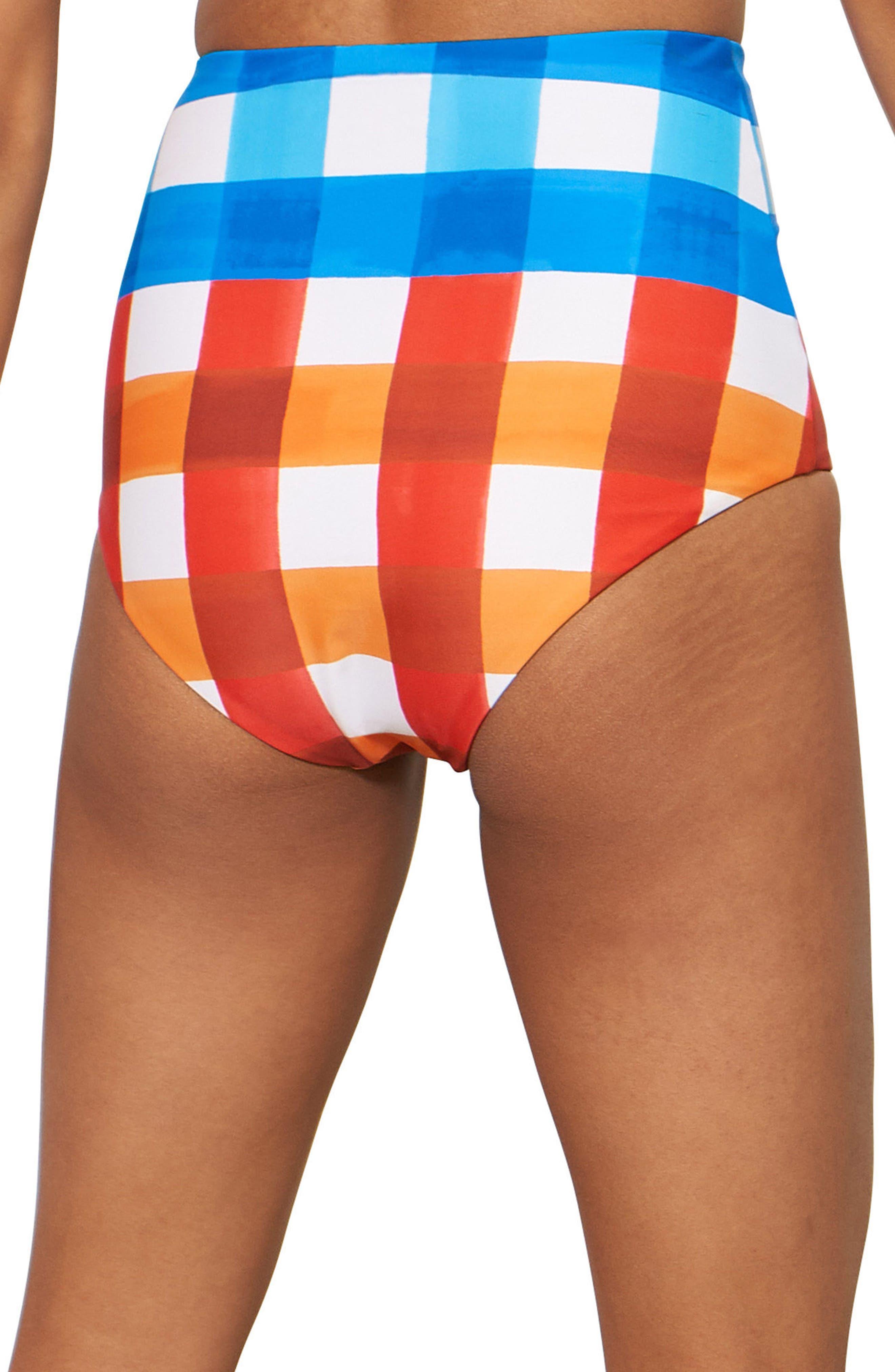 Lydia High Waist Bikini Bottoms,                             Alternate thumbnail 2, color,                             RED/ BLUE MULTI