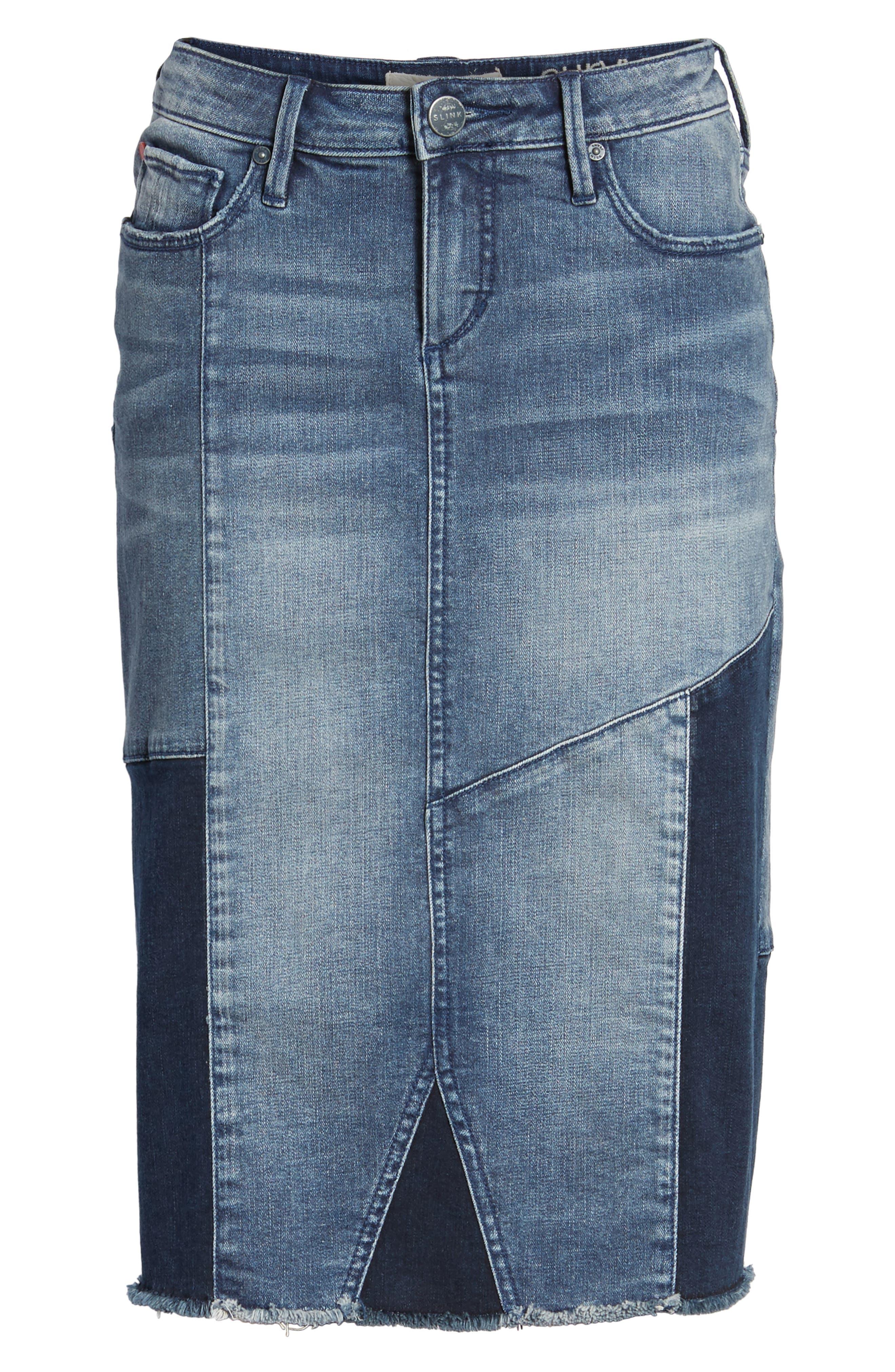 Patchwork Denim Skirt,                             Alternate thumbnail 6, color,                             VANESSA