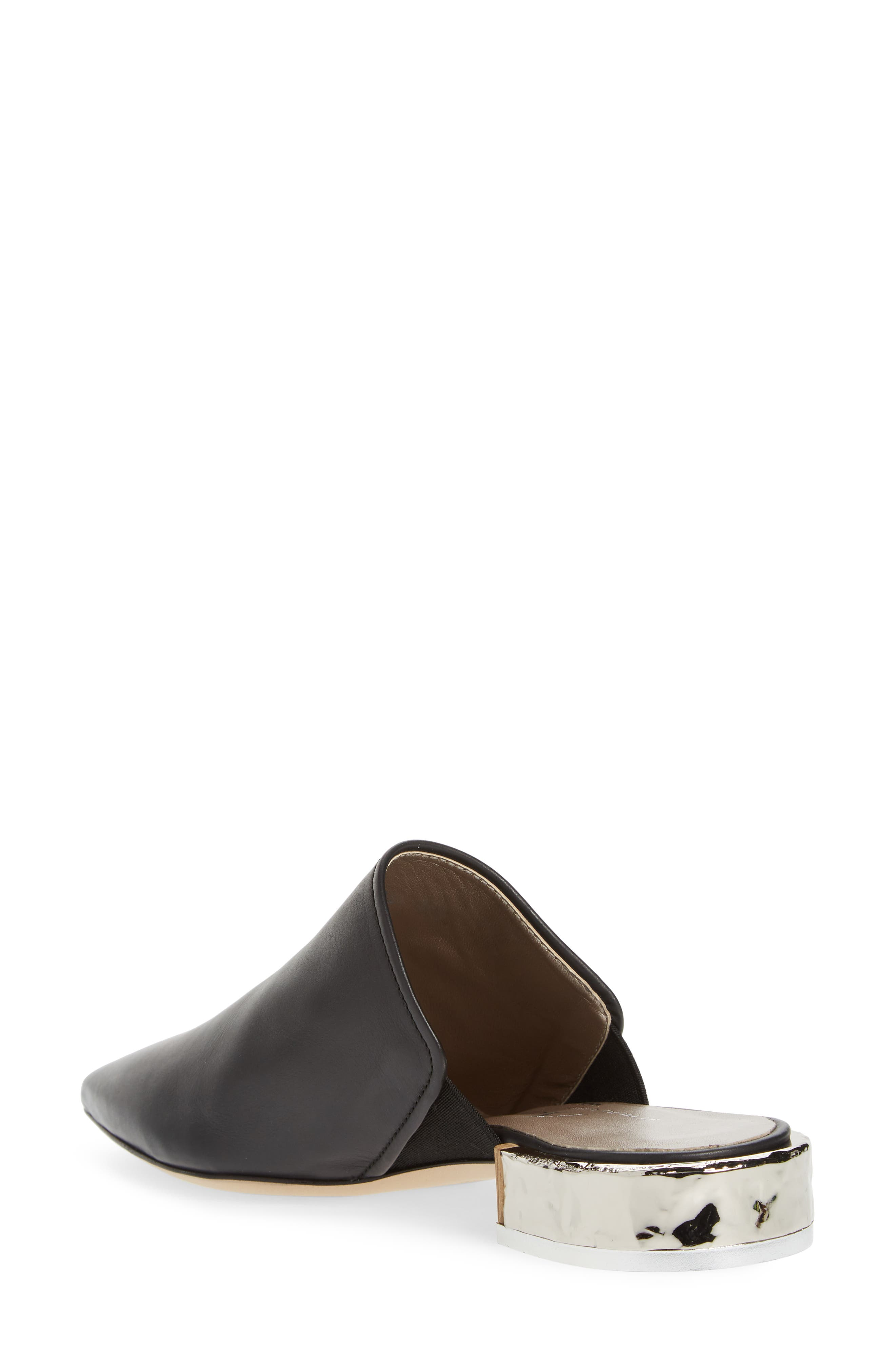 Pointed Toe Mule,                             Alternate thumbnail 2, color,                             BLACK LEATHER
