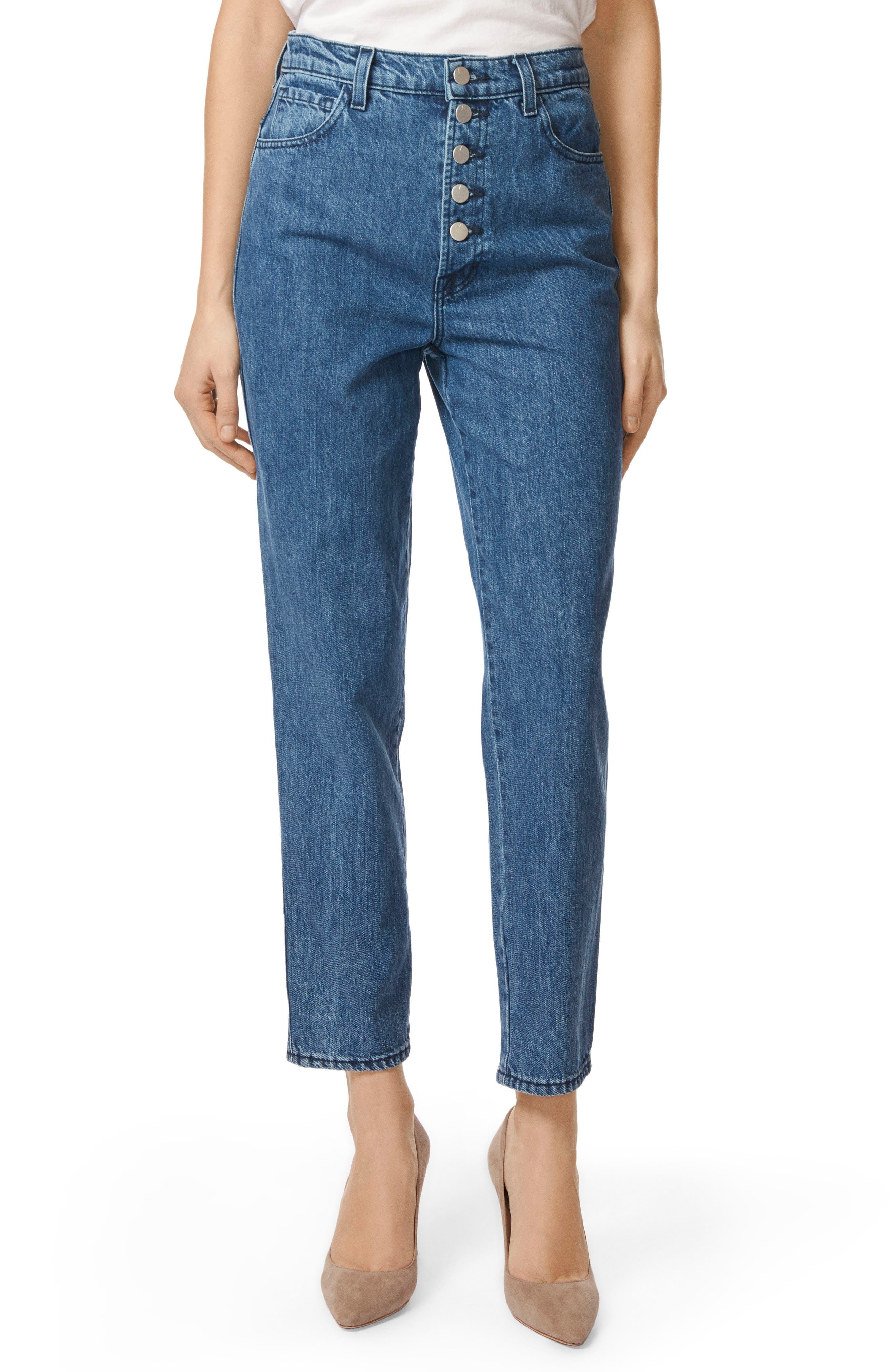 Heather Button Fly Straight Leg Jeans,                             Main thumbnail 1, color,                             ELECTRIFY