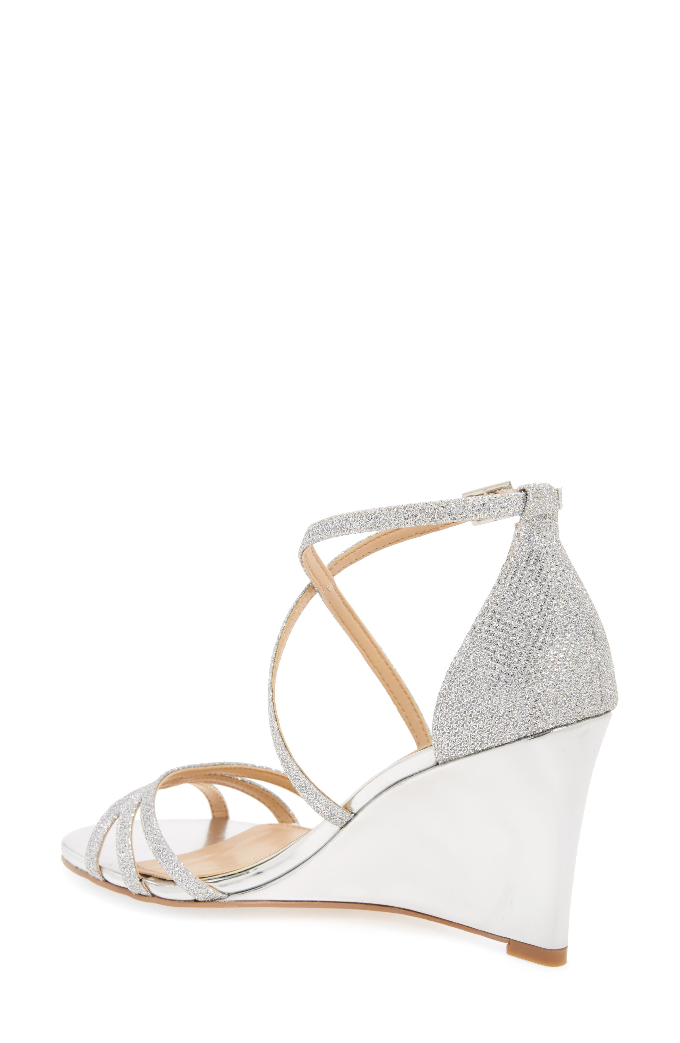 Hunt Glittery Wedge Sandal,                             Alternate thumbnail 2, color,                             SILVER GLITTER FABRIC