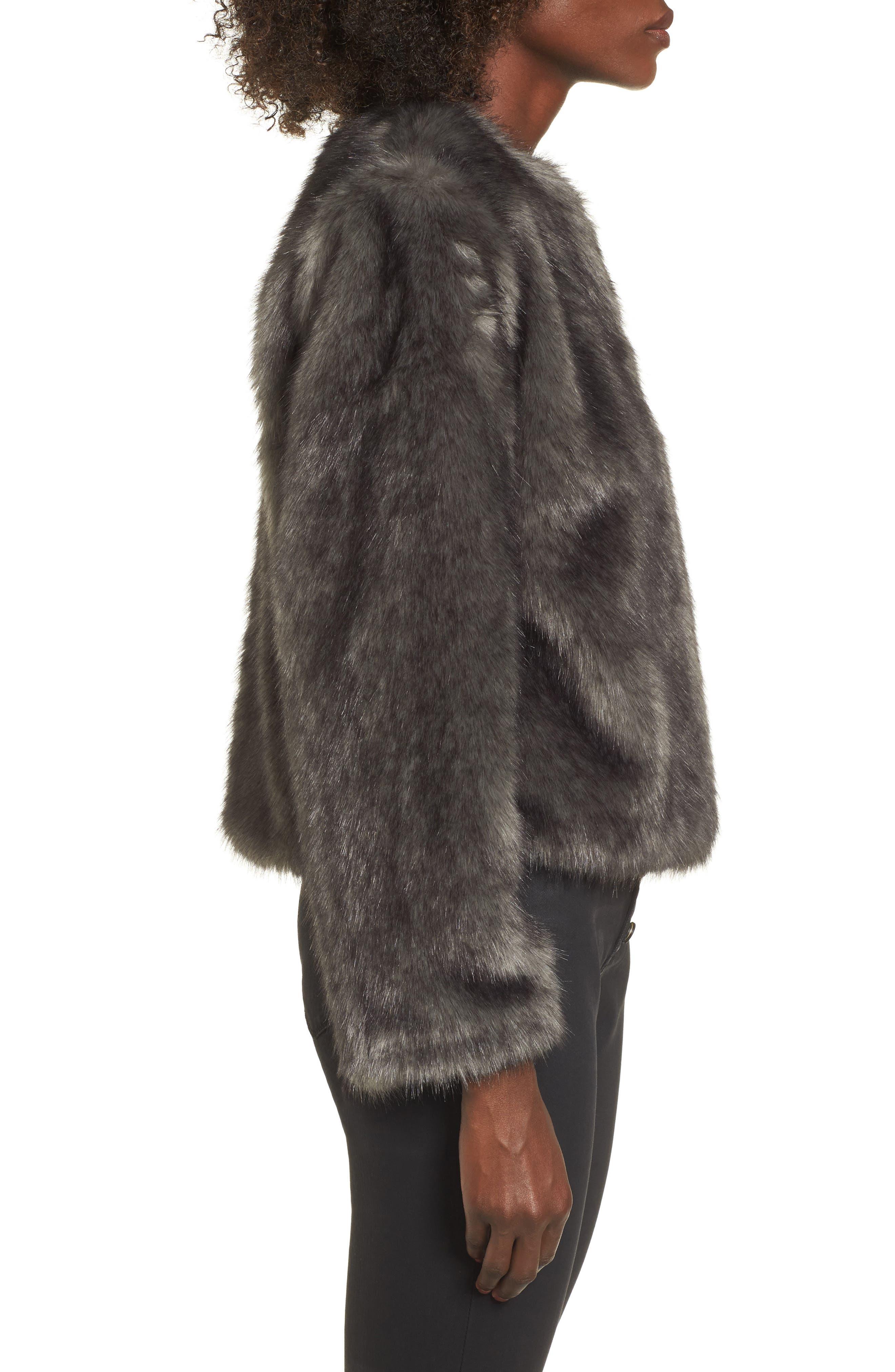 Faux Fur Jacket,                             Alternate thumbnail 3, color,                             020