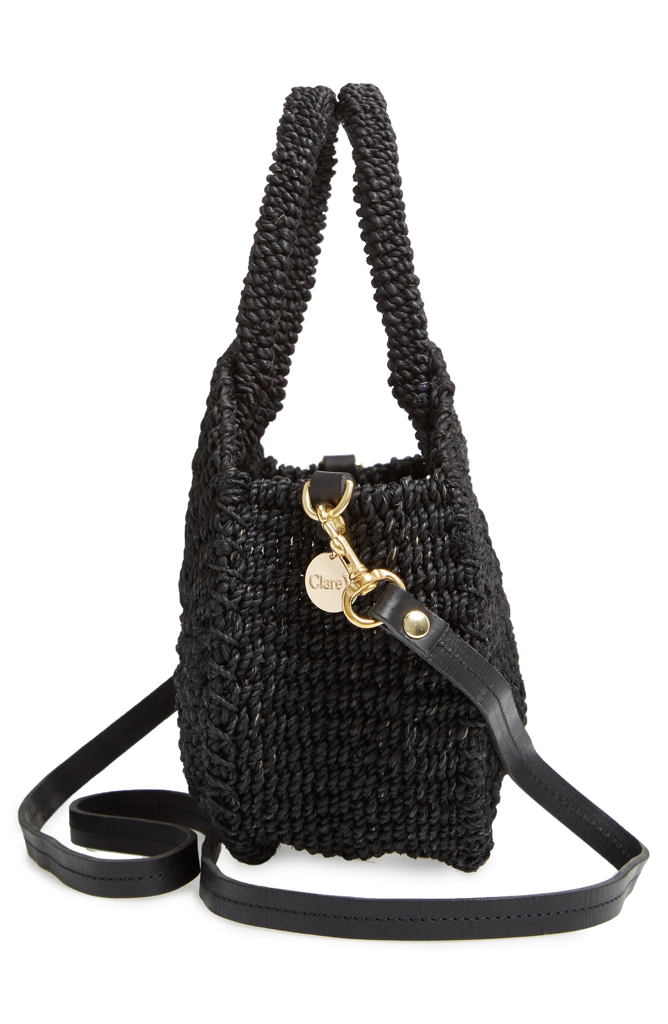 Petite Alice Straw Bag,                             Alternate thumbnail 5, color,                             BLACK