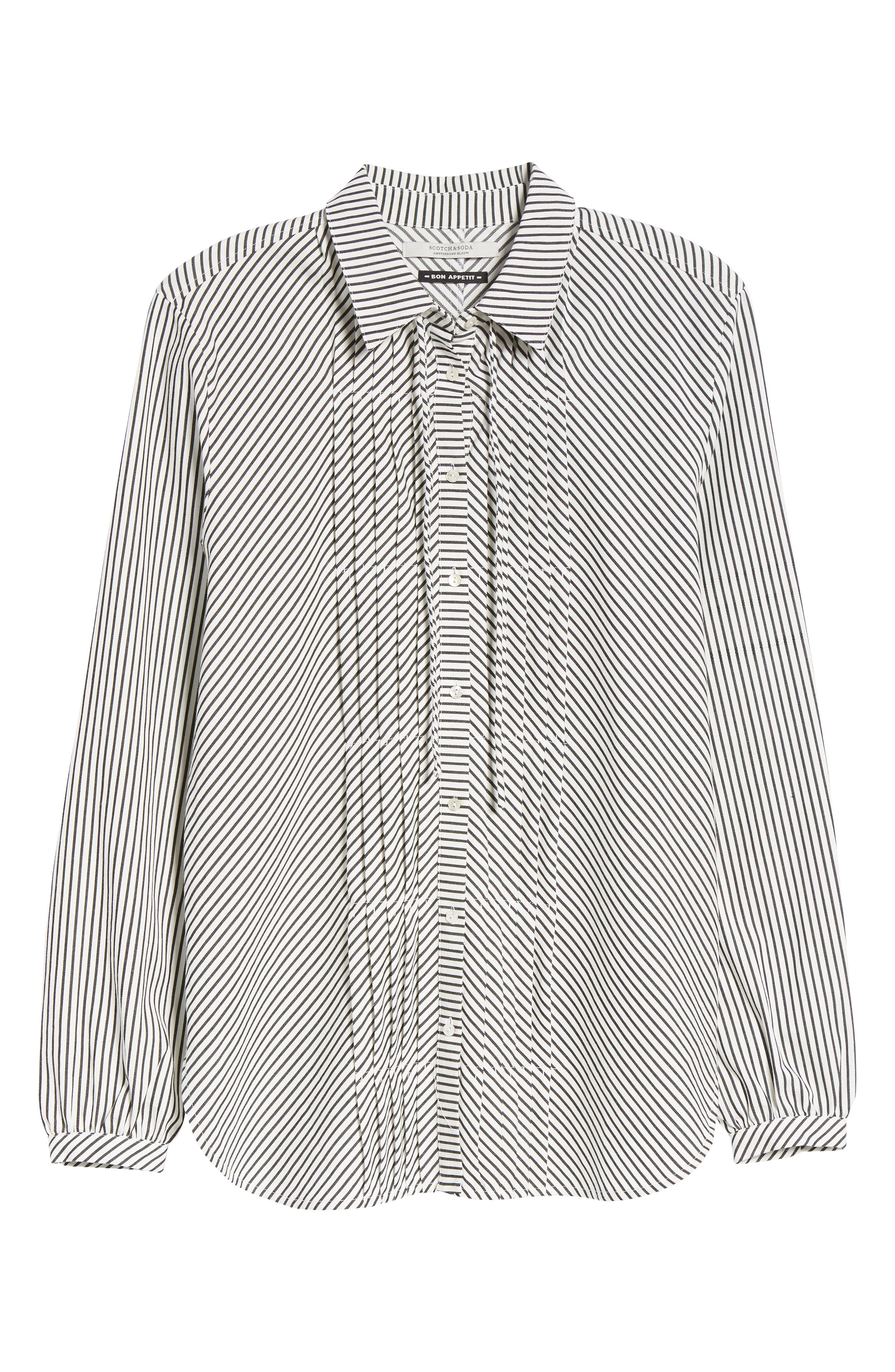 Stripe Pleat Shirt,                             Alternate thumbnail 7, color,                             BLACK/ WHITE PIN STRIPE