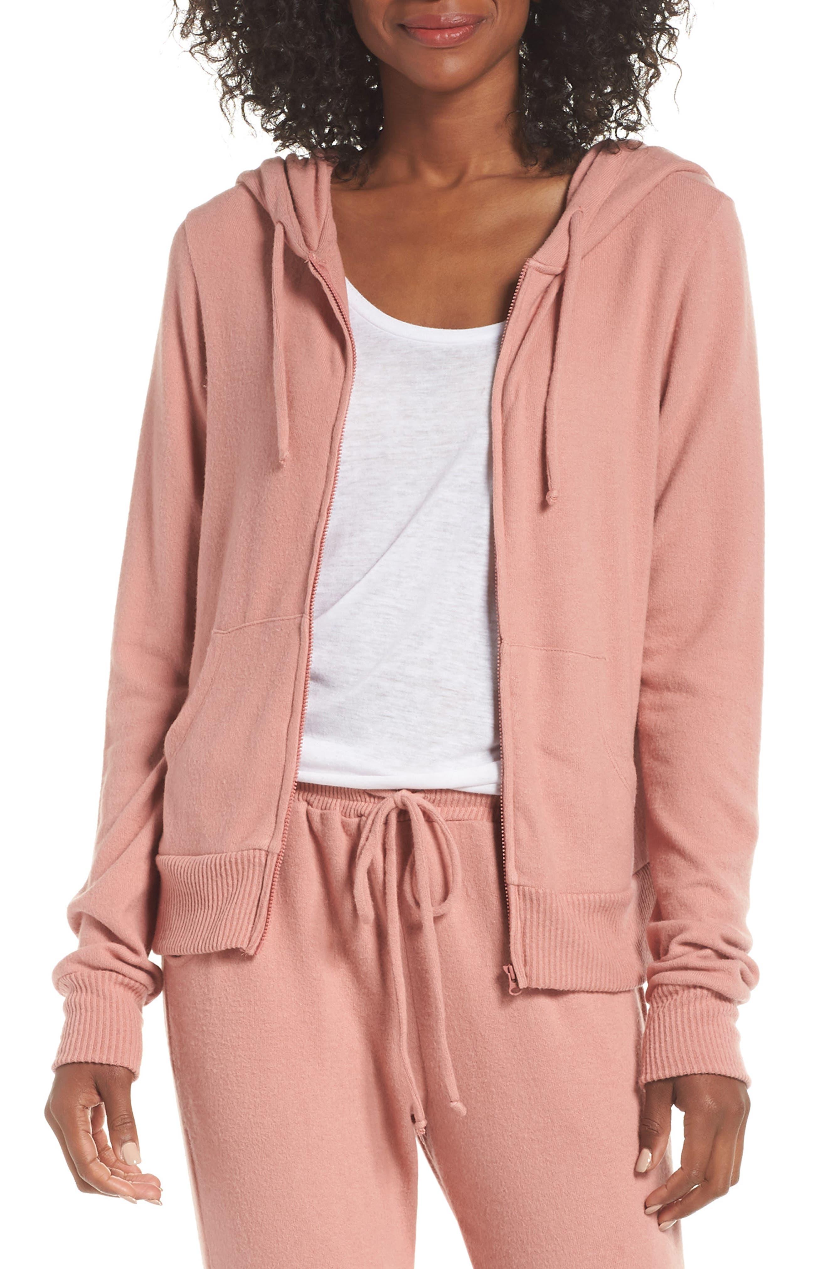 Eberjey Cozy Time Zip Hoodie, Pink