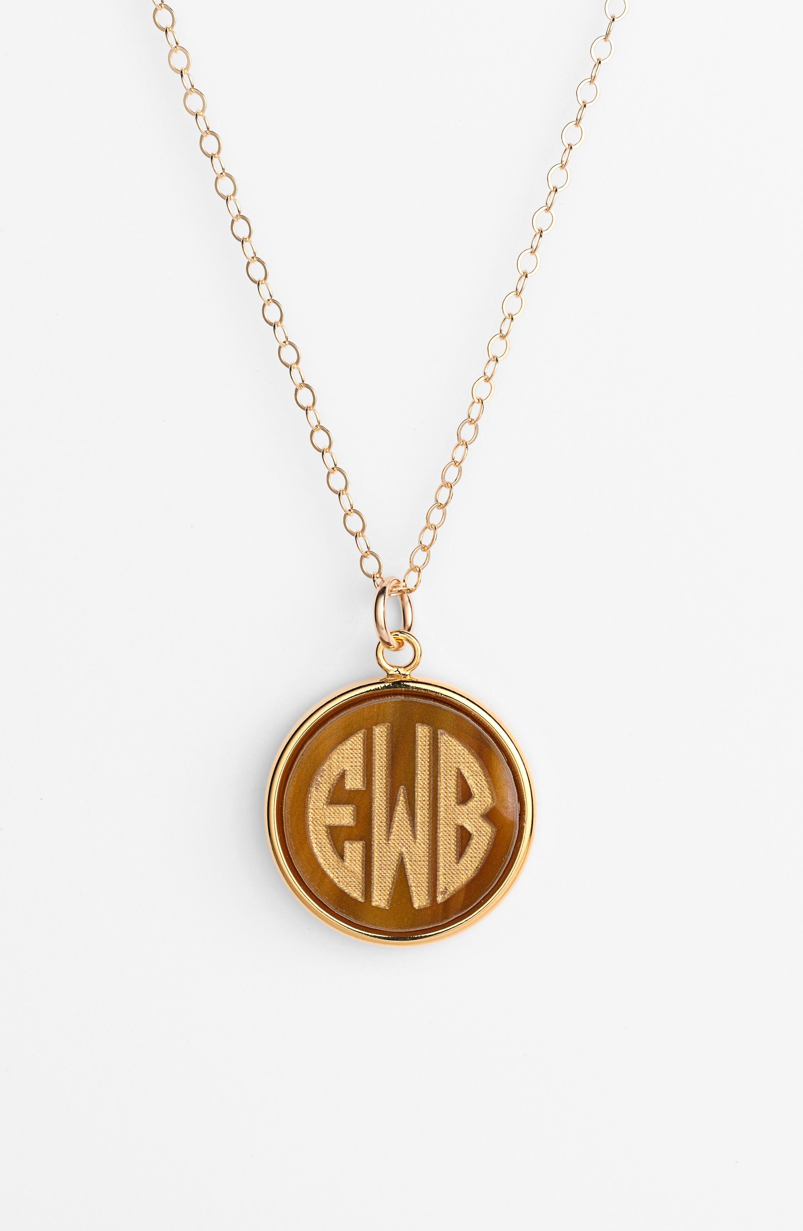 'Vineyard' Personalized Monogram Pendant Necklace,                             Alternate thumbnail 13, color,