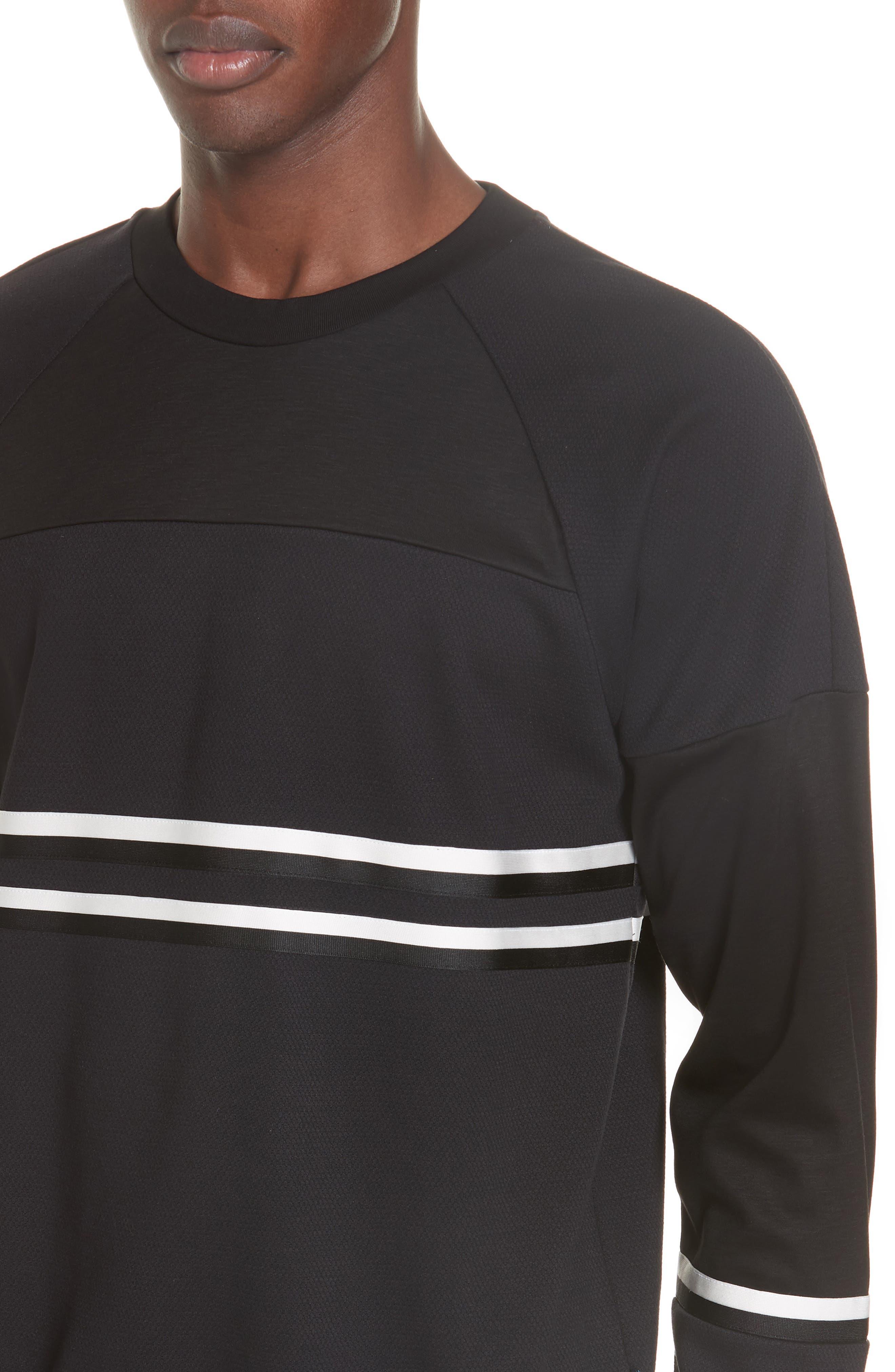 Stripe Trim Sweatshirt,                             Alternate thumbnail 4, color,                             001