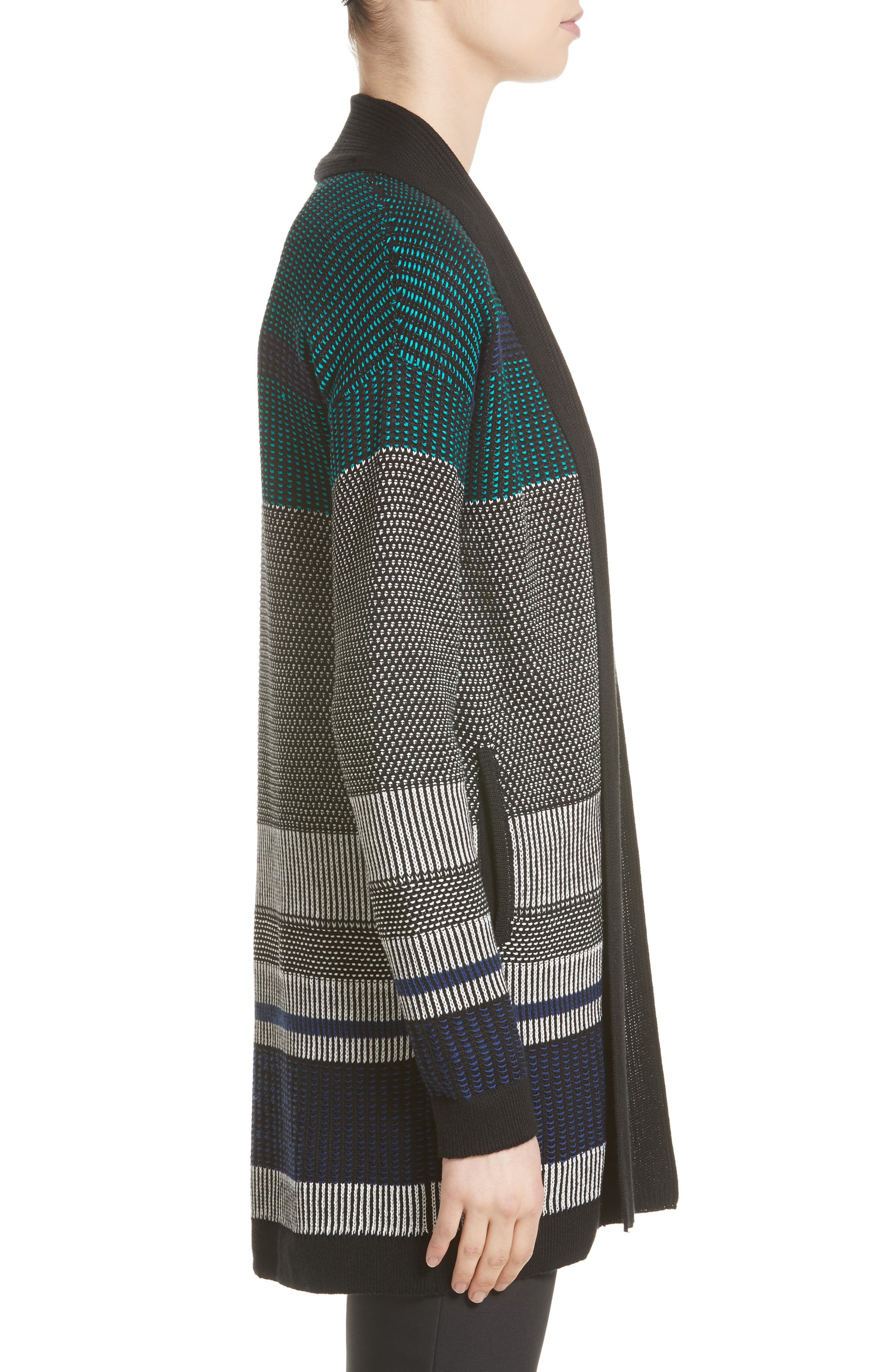 Engineered Inlay Stitch Knit Cardigan,                             Alternate thumbnail 3, color,                             020
