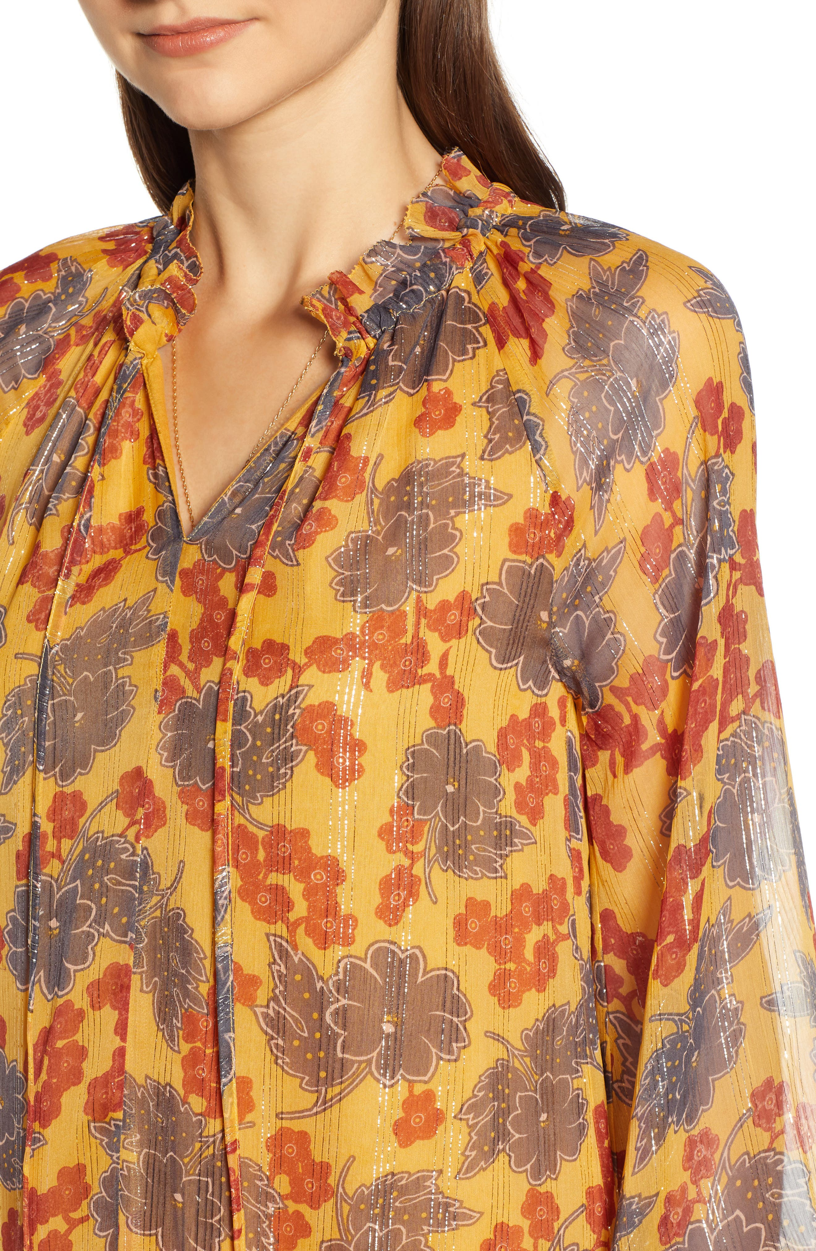 Metallic Stripe Floral Print Dress,                             Alternate thumbnail 4, color,                             YELLOW AND BURGUNDY