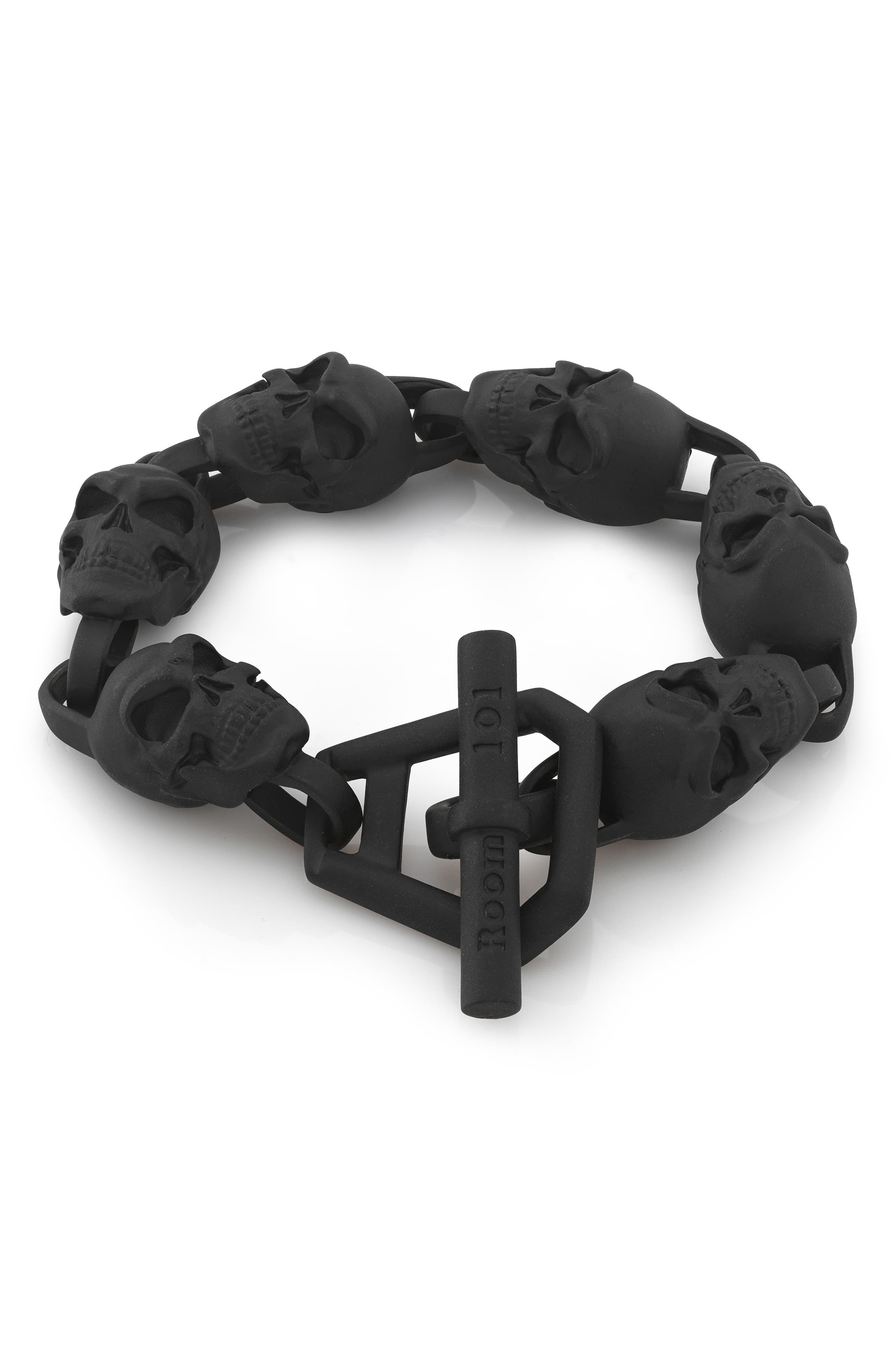 Skull Bracelet,                         Main,                         color, BLACK