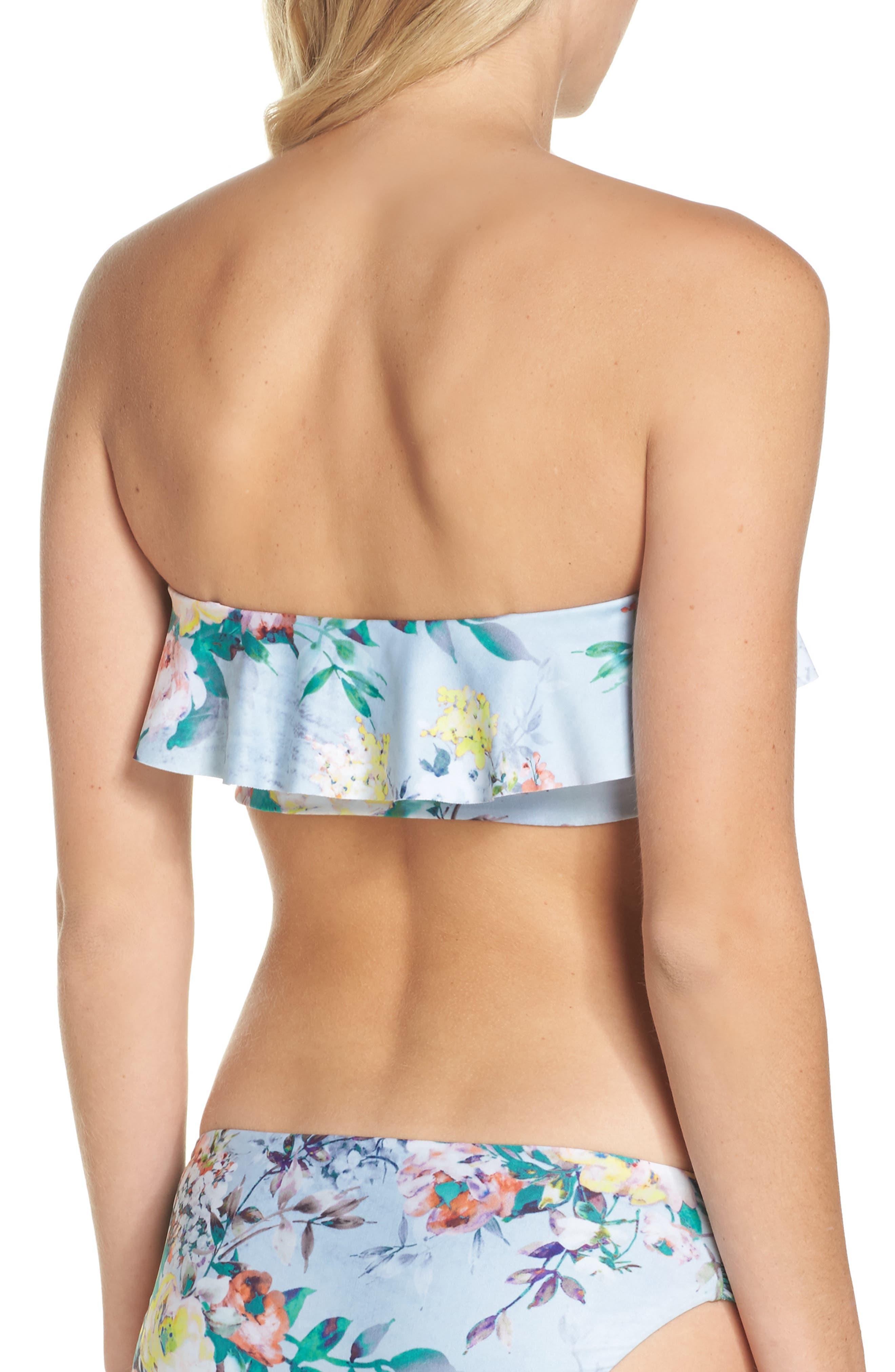 Femme Floral Ruffle Bikini Top,                             Alternate thumbnail 3, color,                             407