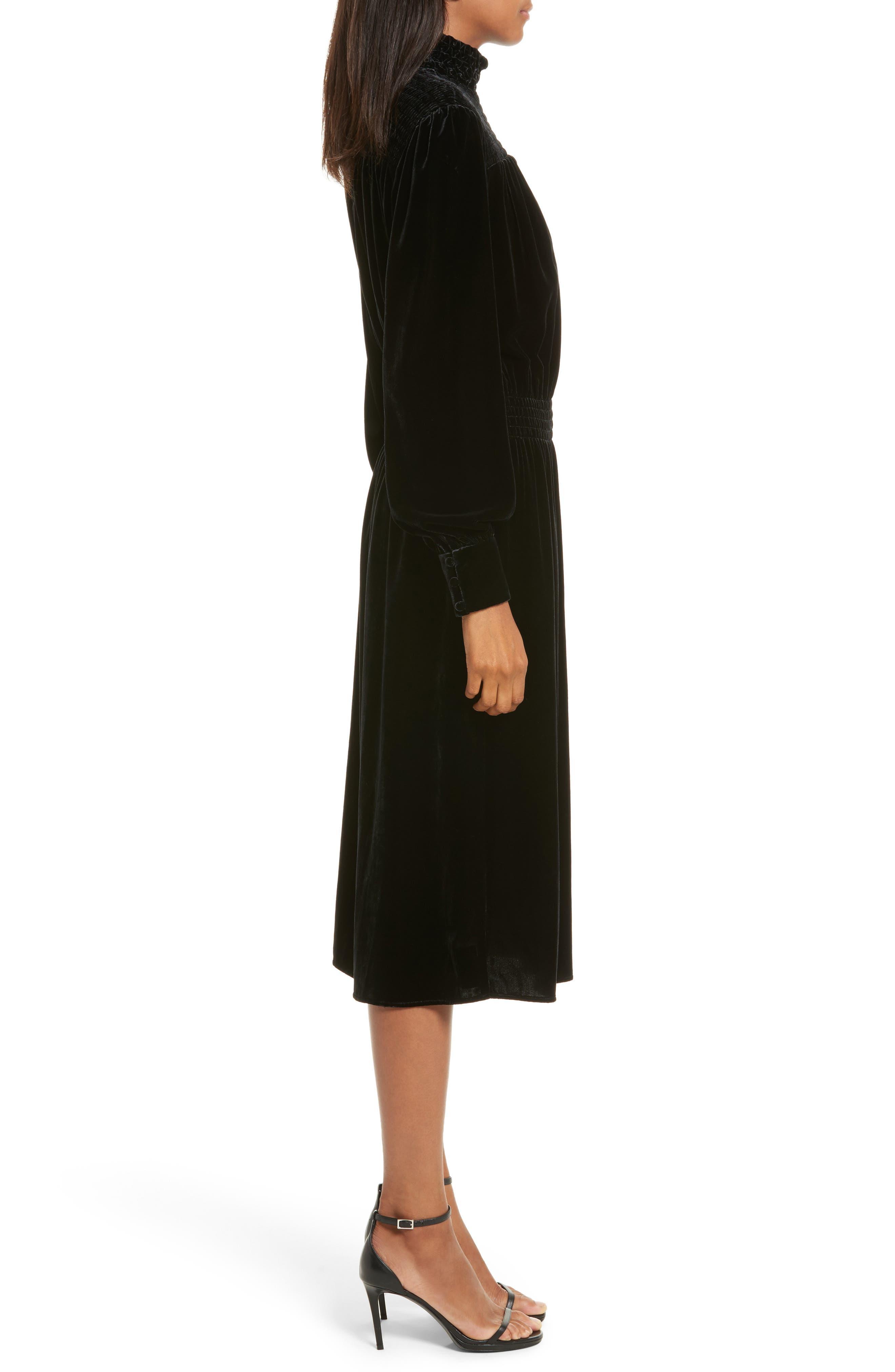 Smocked Velvet Midi Dress,                             Alternate thumbnail 3, color,