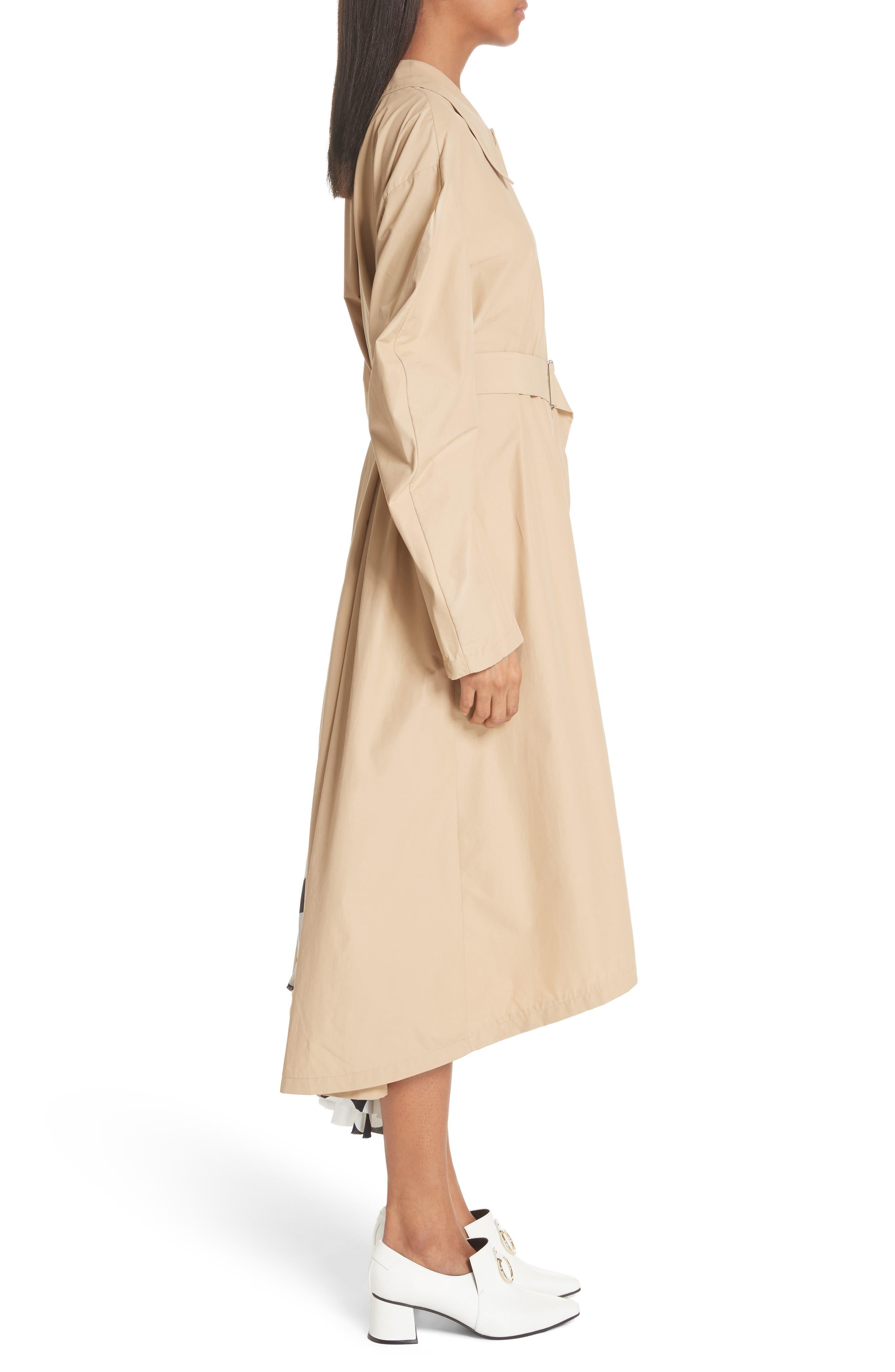 Round Sleeve Coat with Polka Dot Back Panel,                             Alternate thumbnail 3, color,