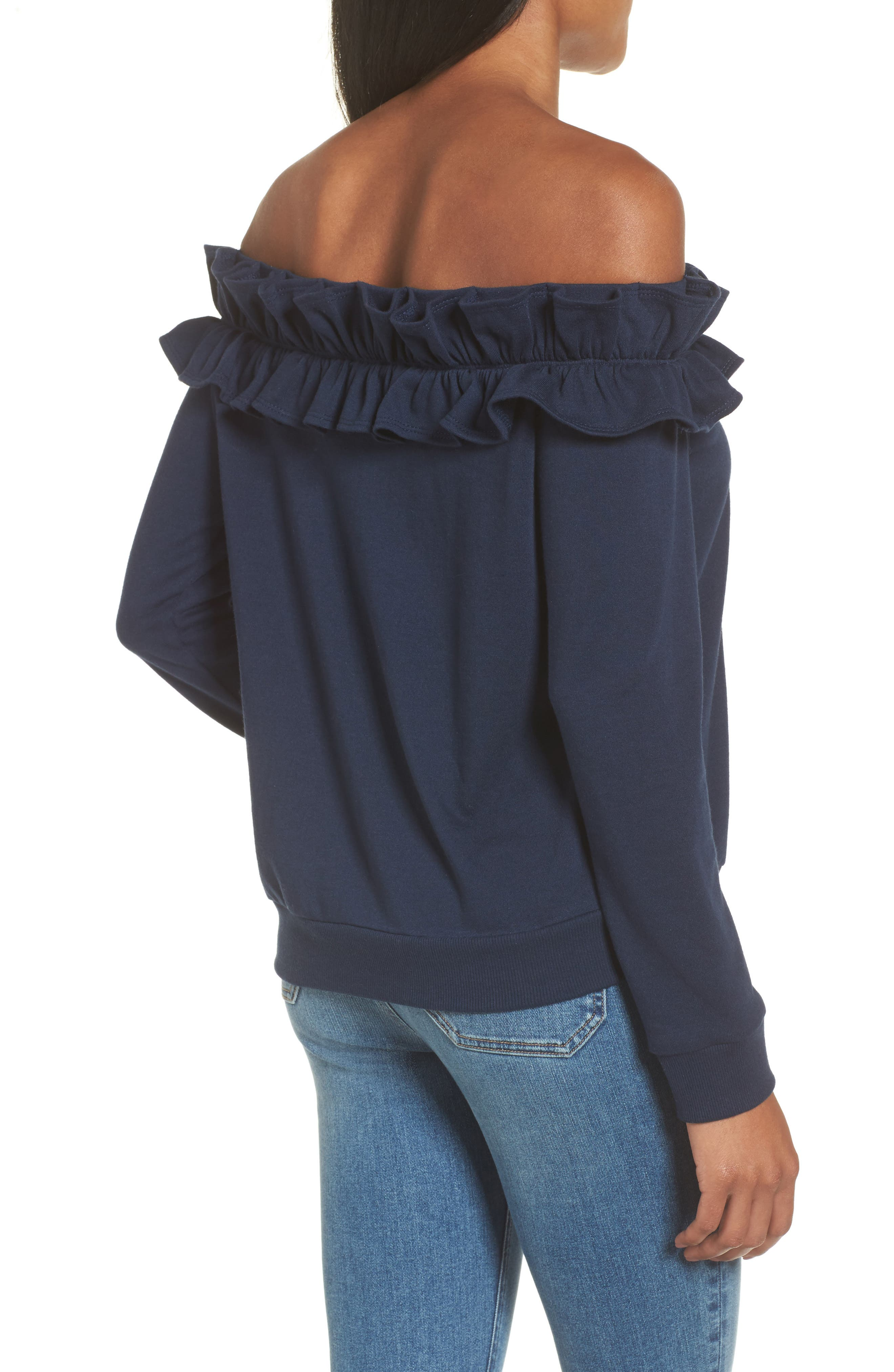 Ruffle Off the Shoulder Top,                             Alternate thumbnail 5, color,