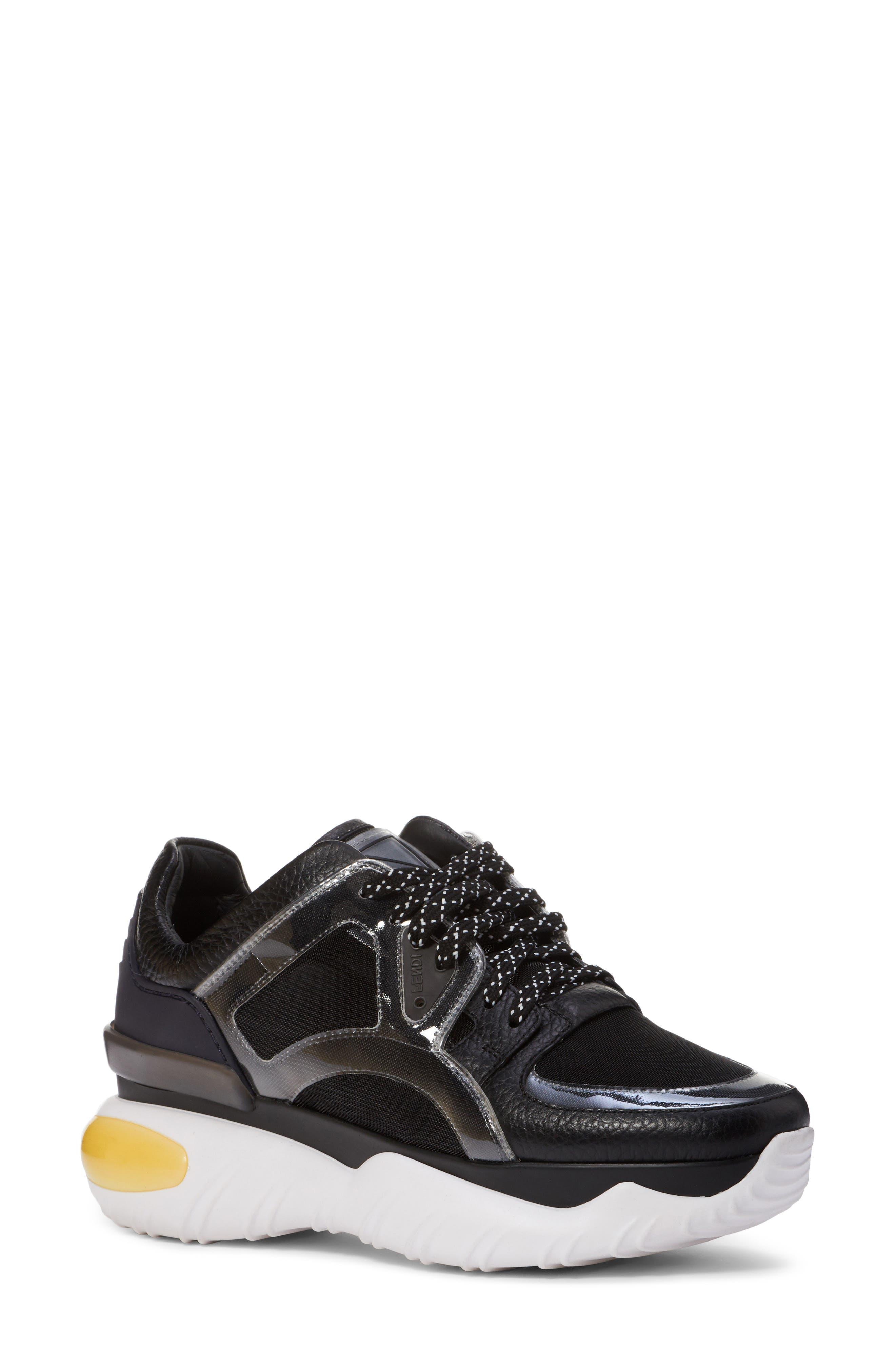 Fancy Lace-Up Sneaker,                             Main thumbnail 1, color,                             BLACK