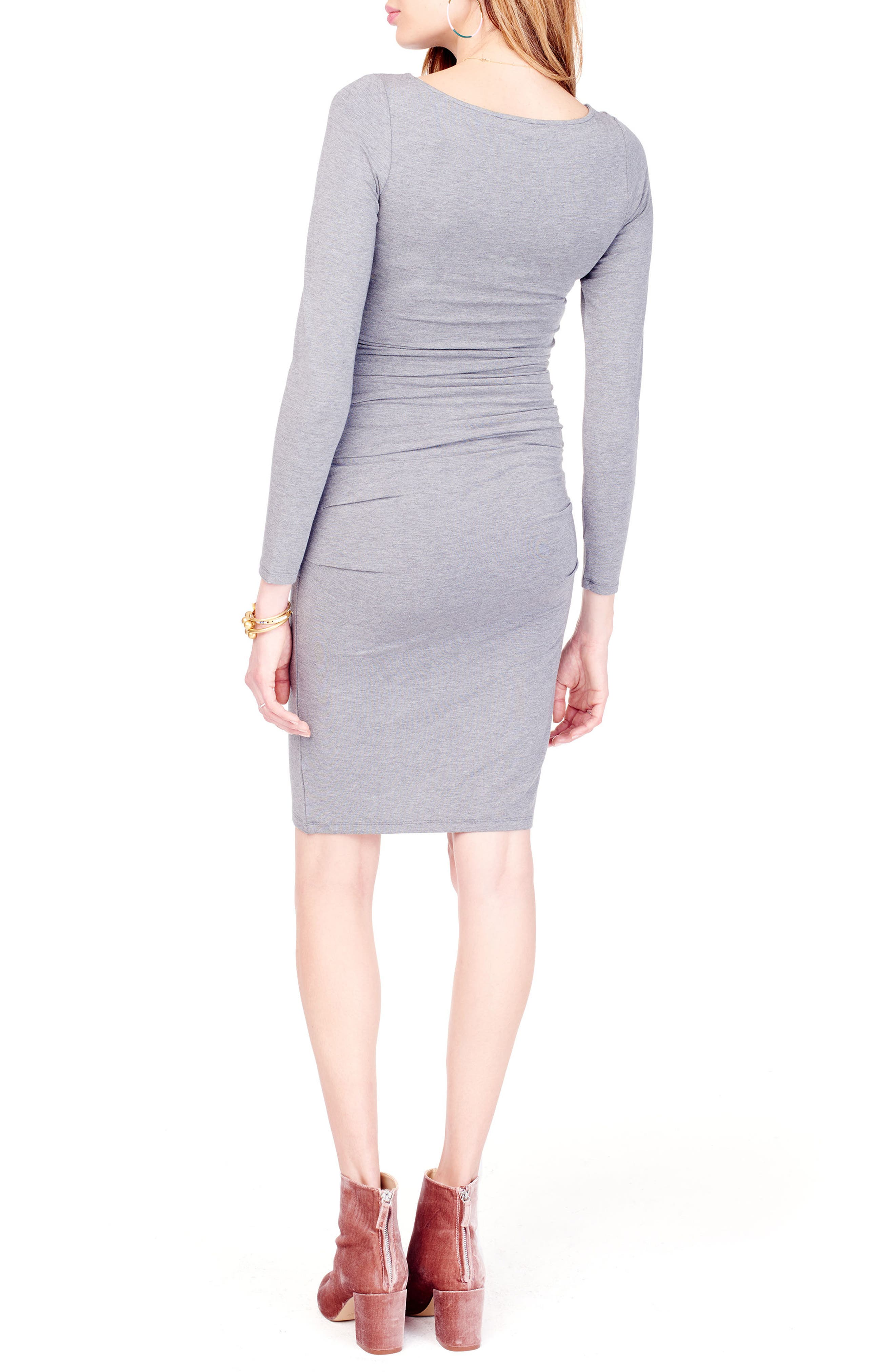 Shirred Maternity Dress,                             Alternate thumbnail 2, color,                             HEATHER GREY