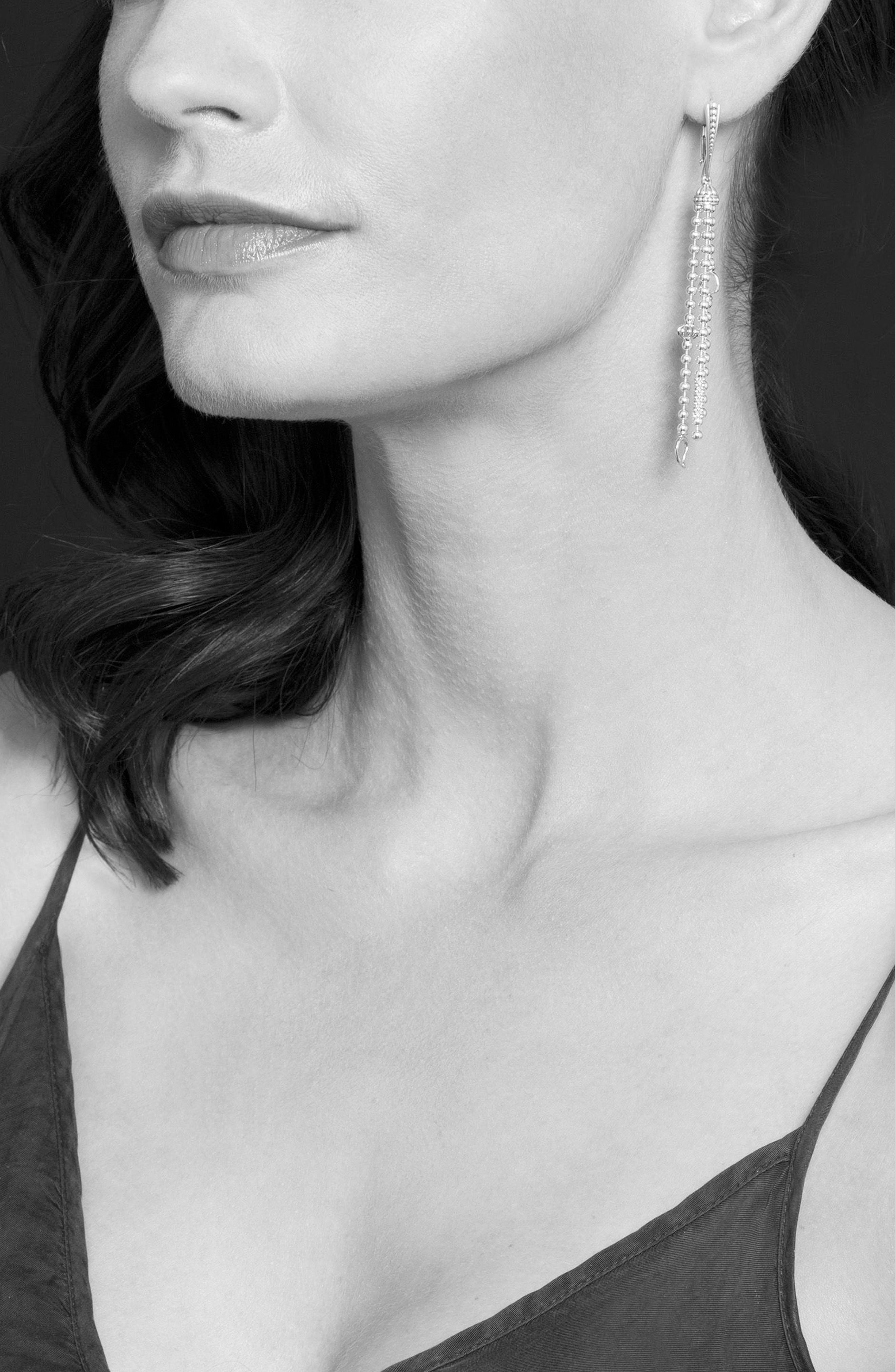 'Caviar Icon' Linear Drop Earrings,                             Alternate thumbnail 2, color,                             SILVER/ GOLD