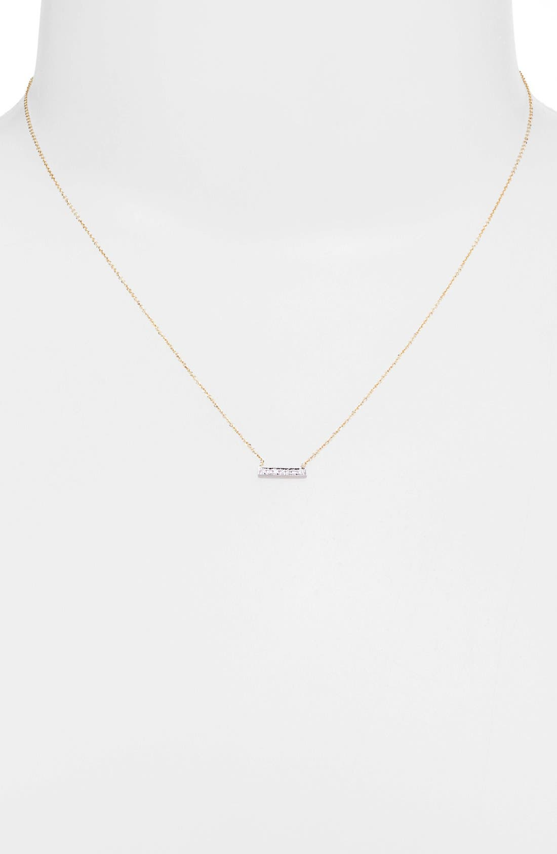 'Sylvie Rose' Diamond Bar Pendant Necklace,                             Alternate thumbnail 9, color,                             YELLOW GOLD