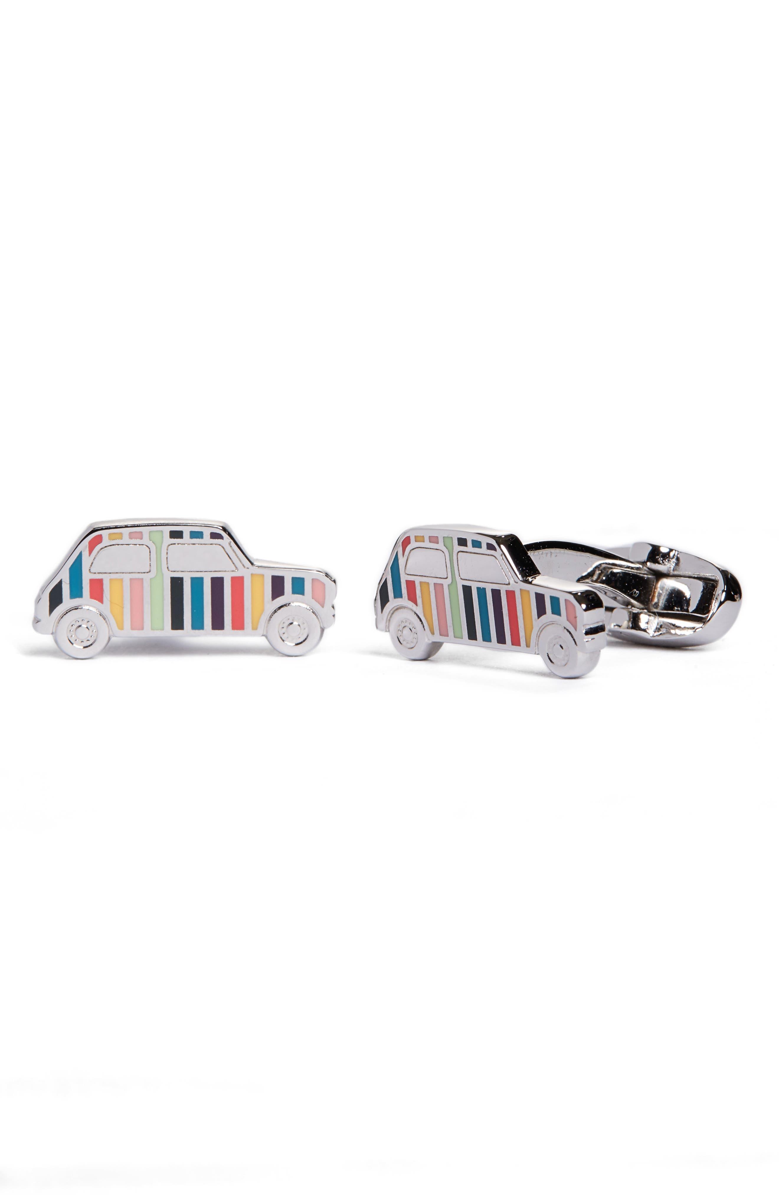 Enamel Stripe Car Cuff Links,                             Alternate thumbnail 2, color,                             METALLIC SILVER