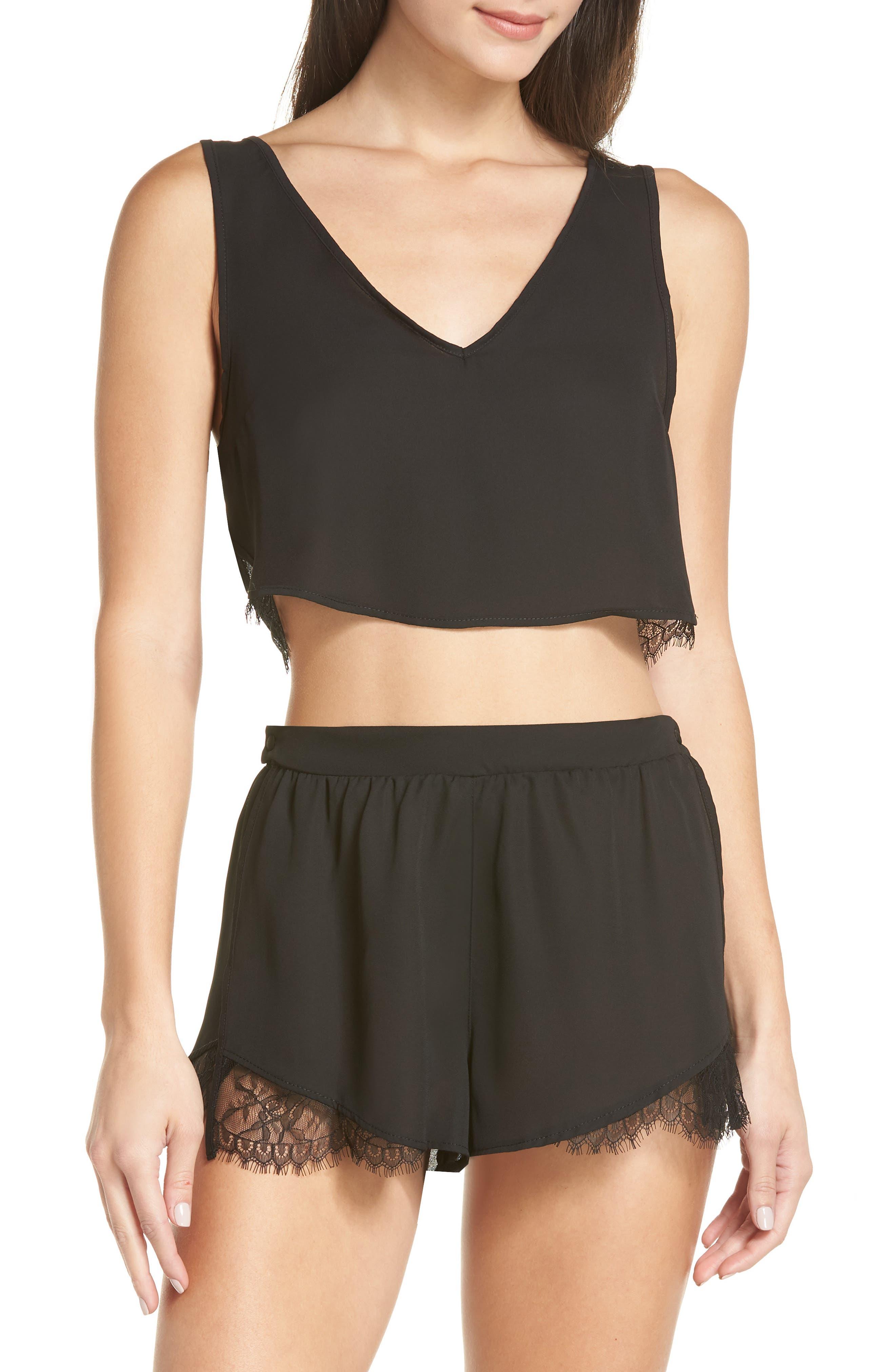 Kamala Short Pajamas,                         Main,                         color, BLACK