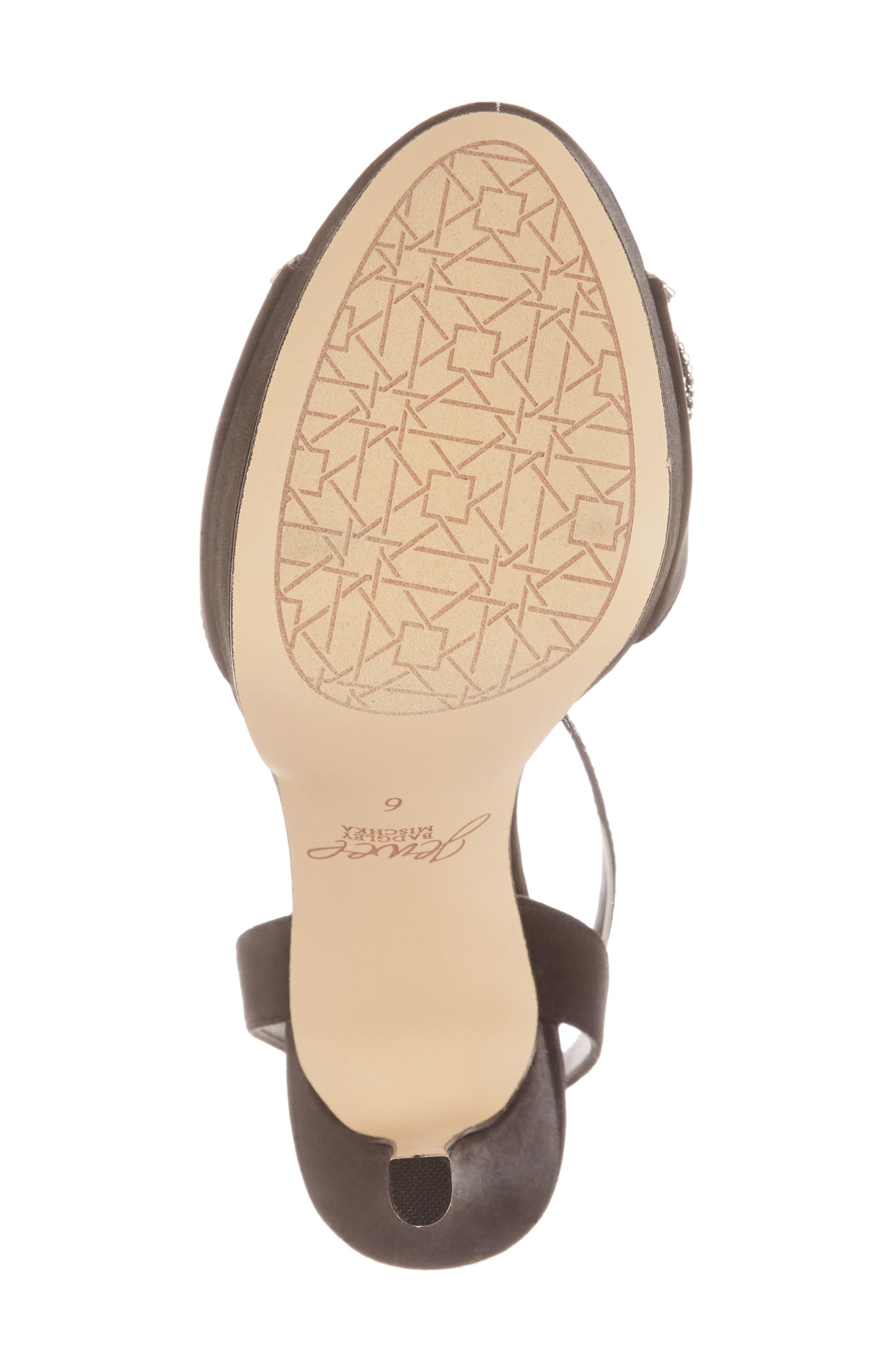 Mildred Crystal Bow Platform Sandal,                             Alternate thumbnail 6, color,                             BLACK SATIN