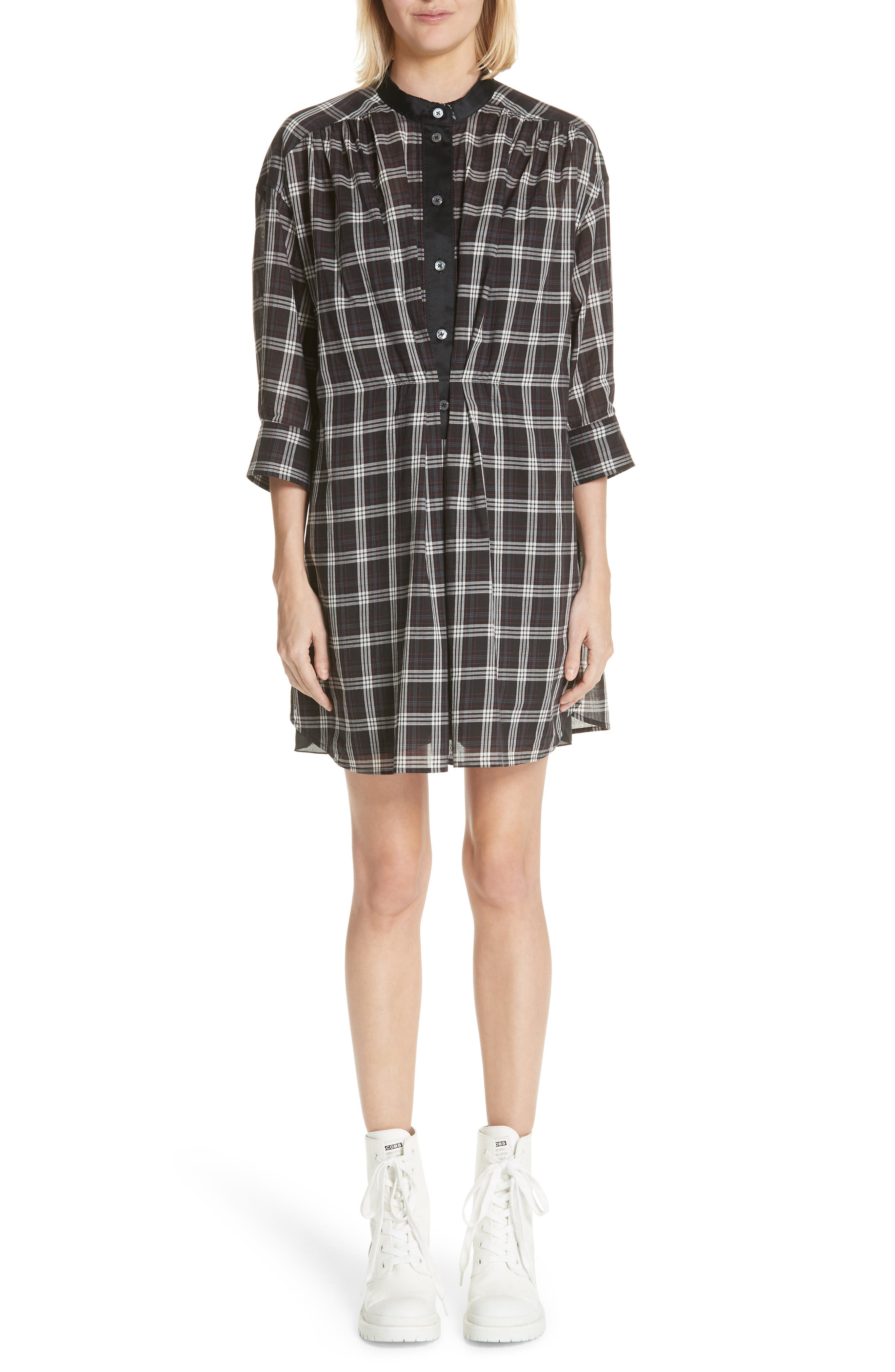 Marc Jacobs Patchwork Plaid Dress, Black