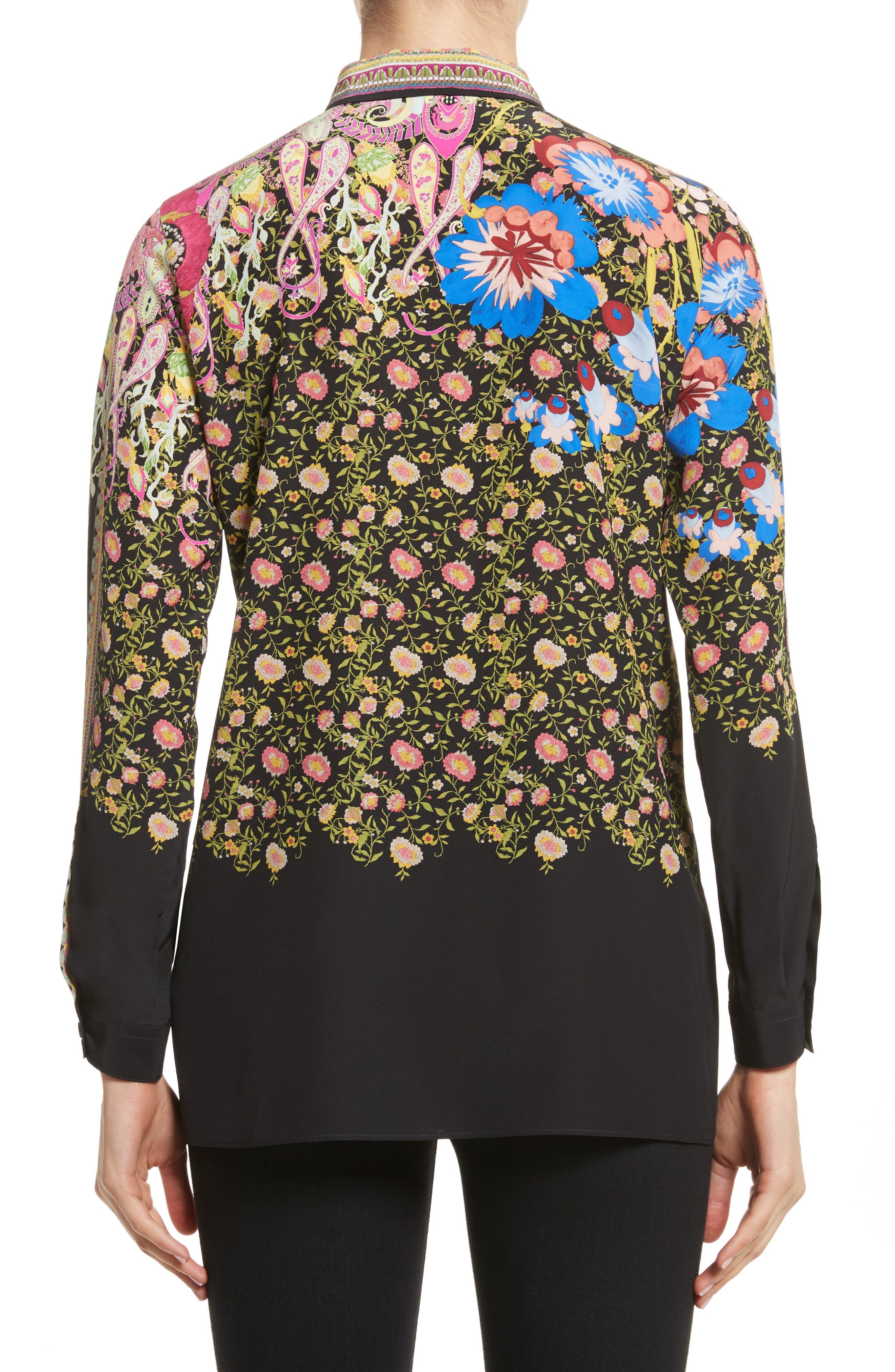 Floral Paisley Print Silk Shirt,                             Alternate thumbnail 2, color,                             001