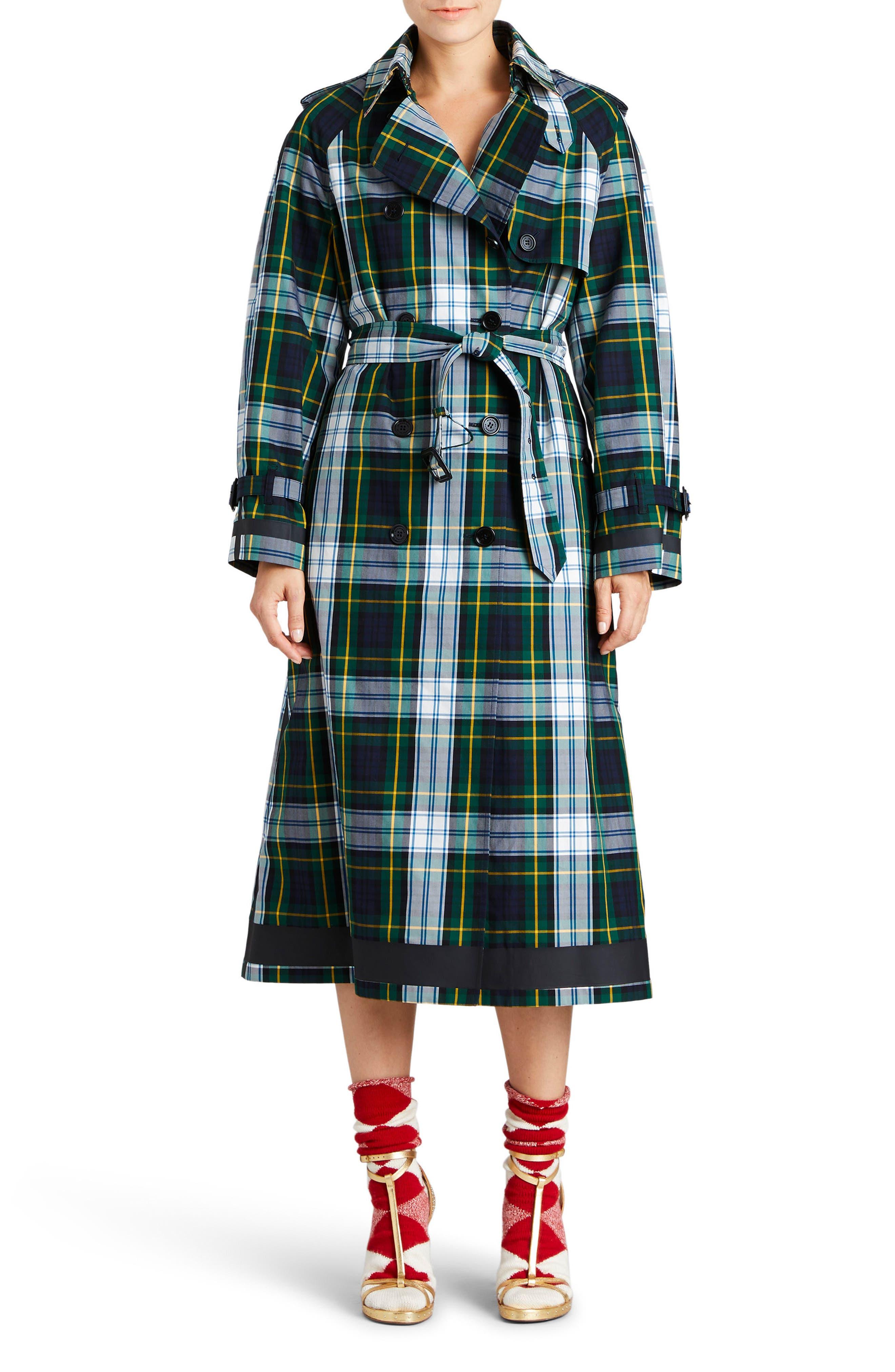 Tartan Cotton Gabardine Trench Coat,                             Main thumbnail 1, color,