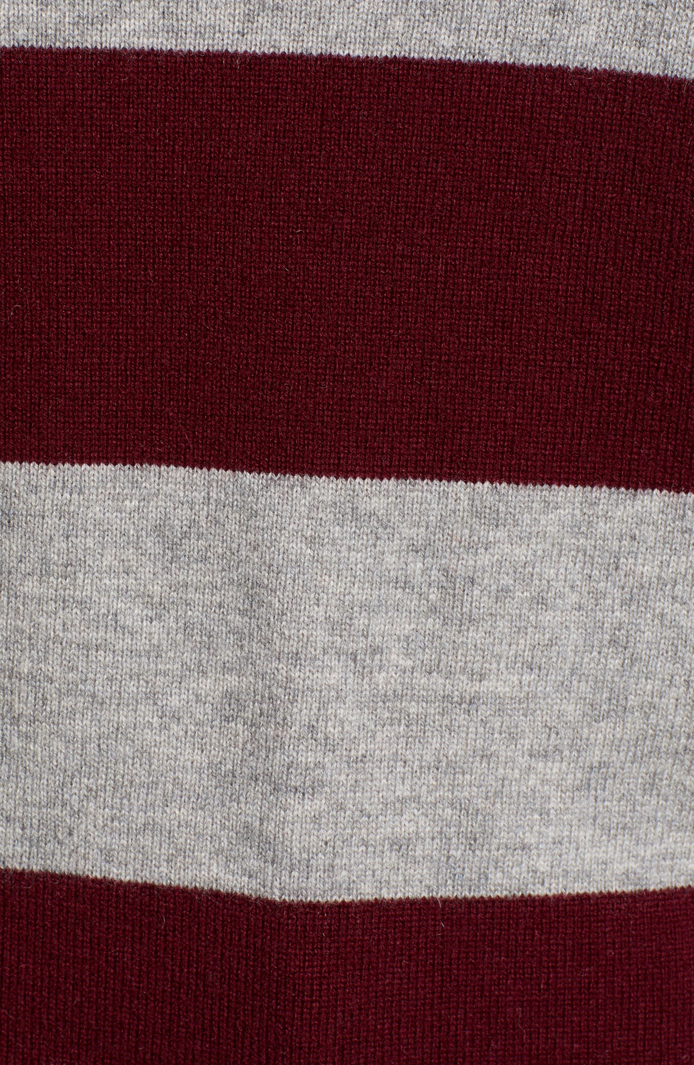 Tara Stripe Cashmere Sweater,                             Alternate thumbnail 5, color,                             DARK RED/ HEATHER GREY