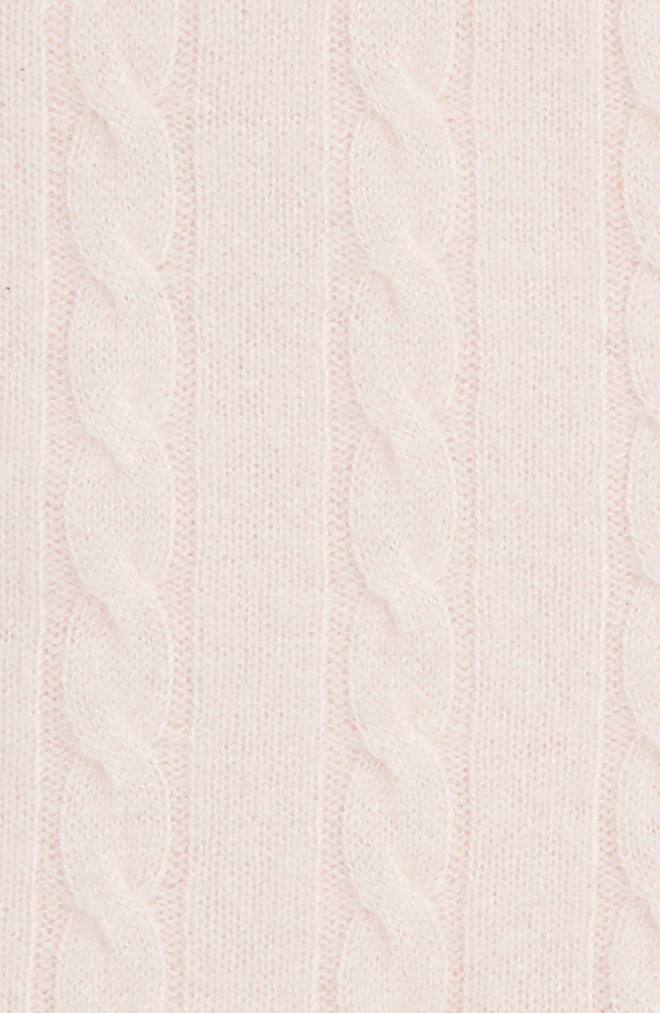 Cashmere Cable Knit Blanket,                             Alternate thumbnail 2, color,                             PINK DREAM