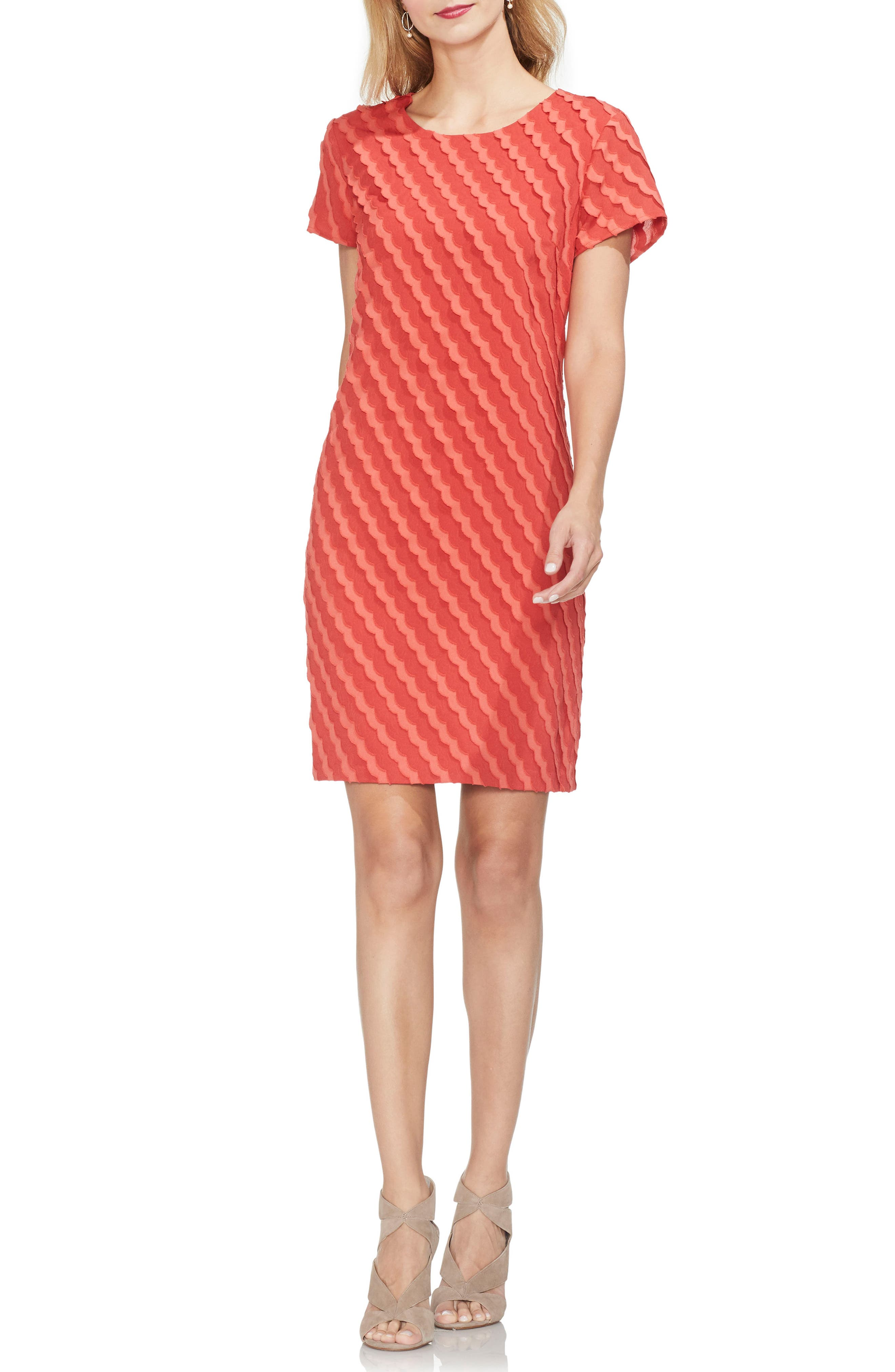 Vince Camuto Clipped Scallop Stripe Shift Dress, Red