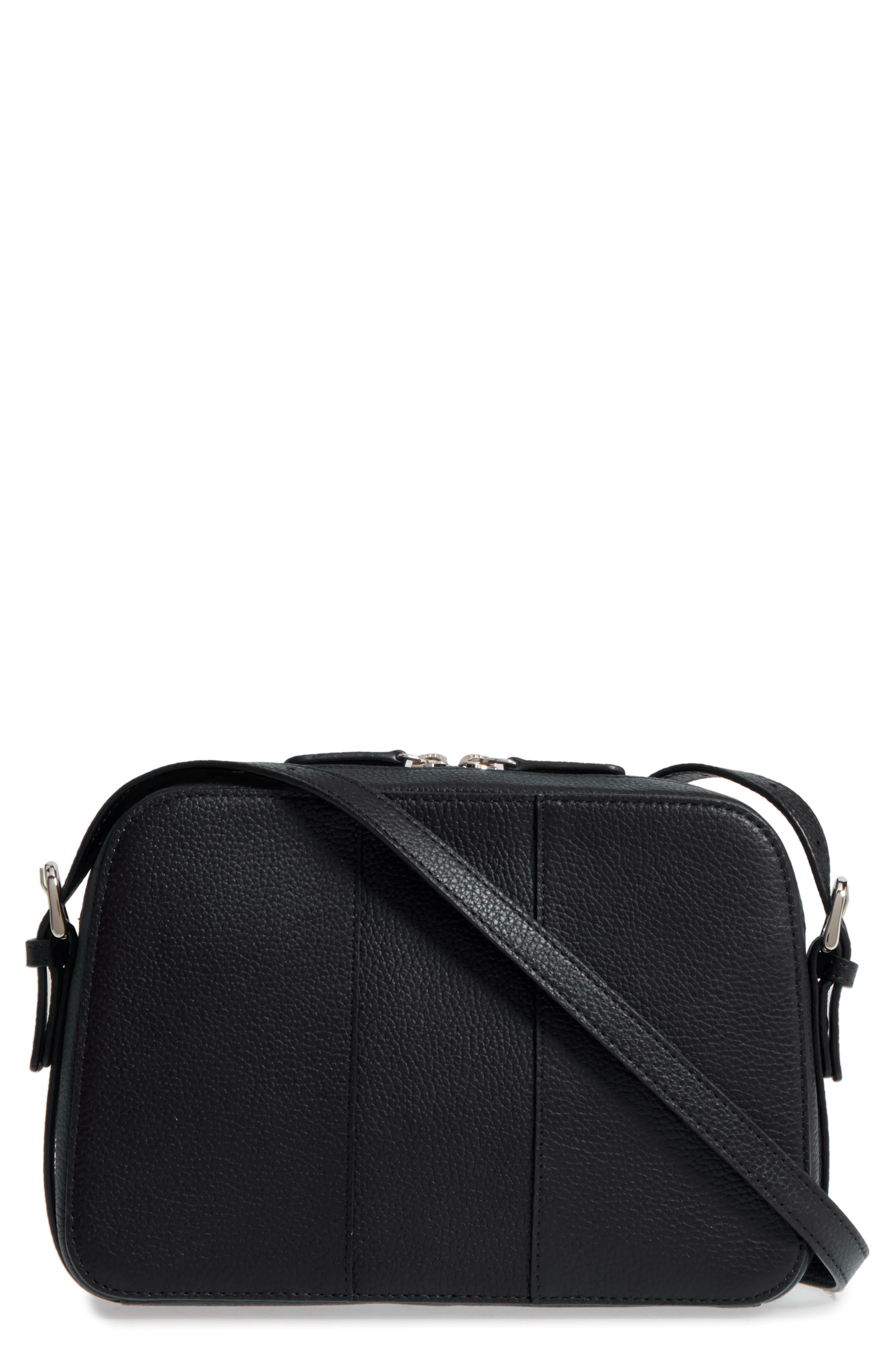 Brayden Leather Crossbody Camera Bag,                             Main thumbnail 1, color,                             001