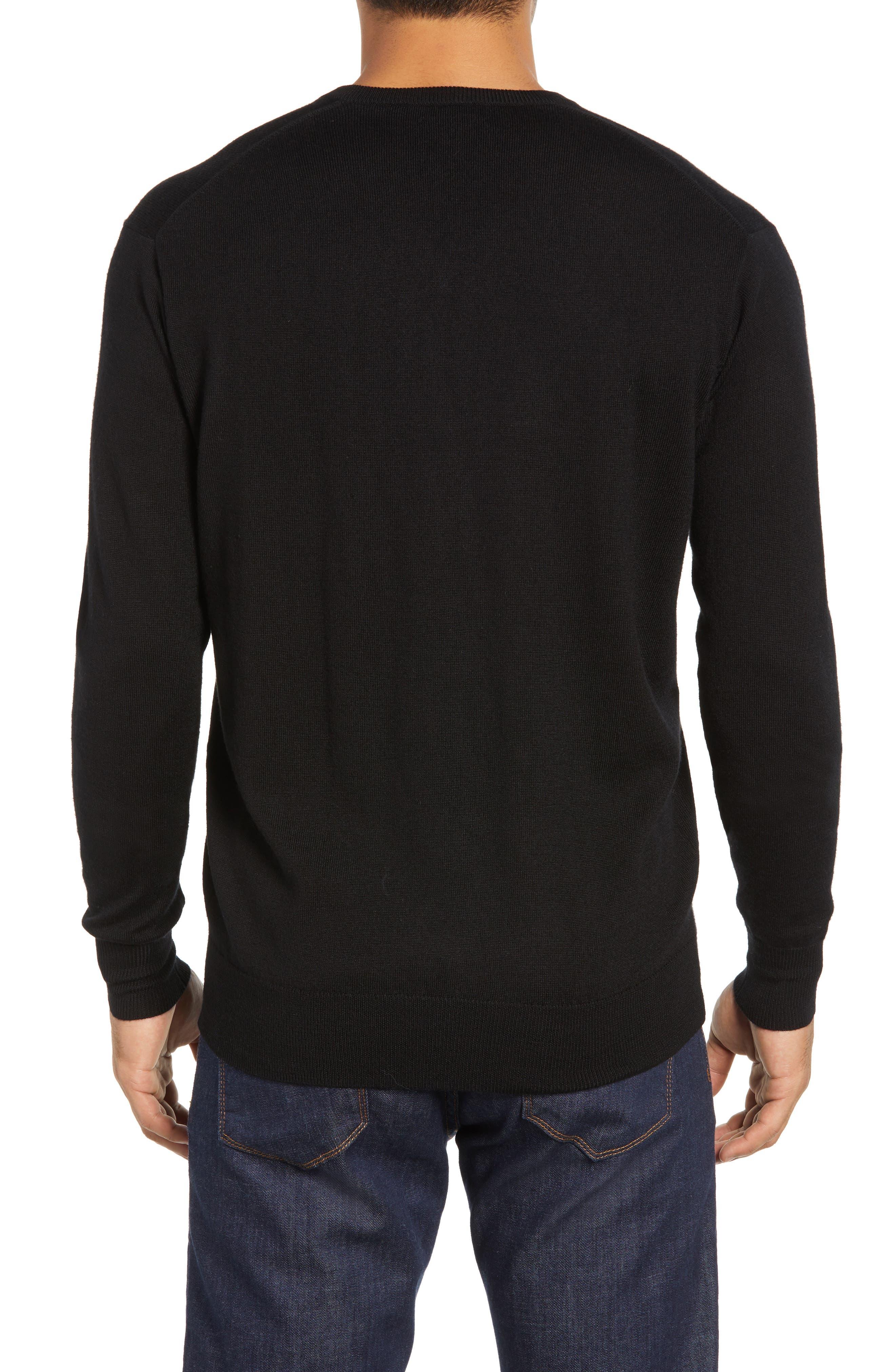 Wool & Silk V-Neck Sweater,                             Alternate thumbnail 2, color,                             001