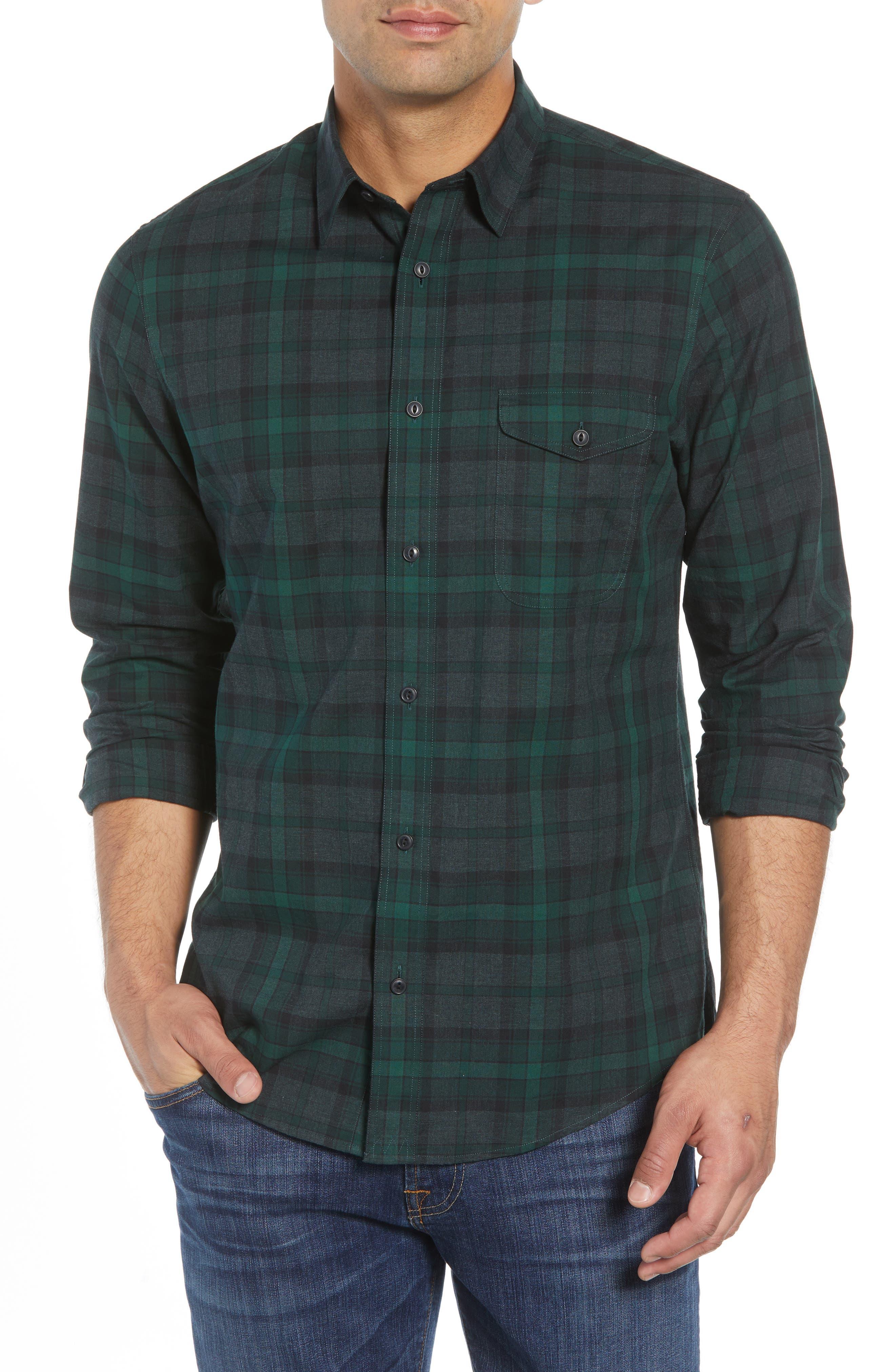 Regular Fit Plaid Flannel Sport Shirt,                         Main,                         color, GREEN FOREST GREY PLAID