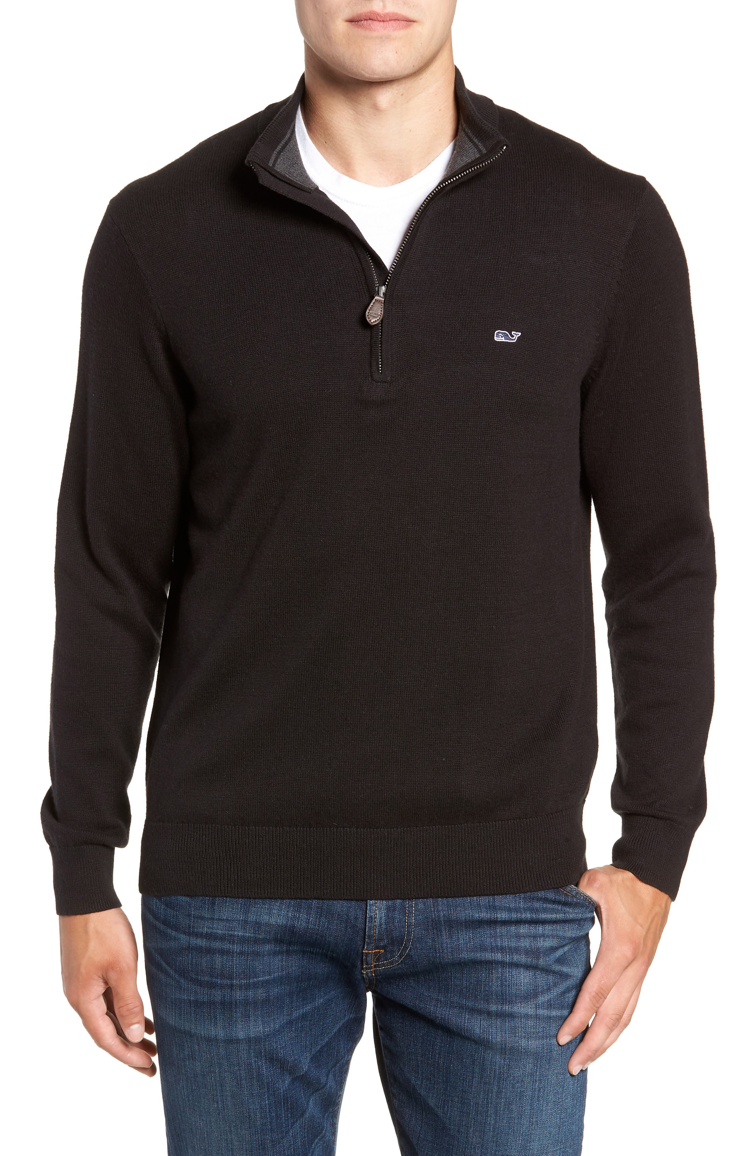 Palm Beach Quarter-Zip Sweater,                             Main thumbnail 1, color,                             JET BLACK