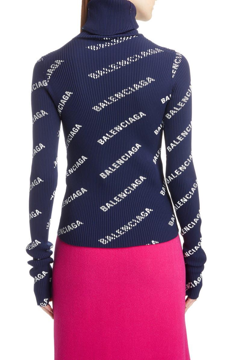 Balenciaga Logo Ribbed Turtleneck Sweater Nordstrom Balen Top Pink