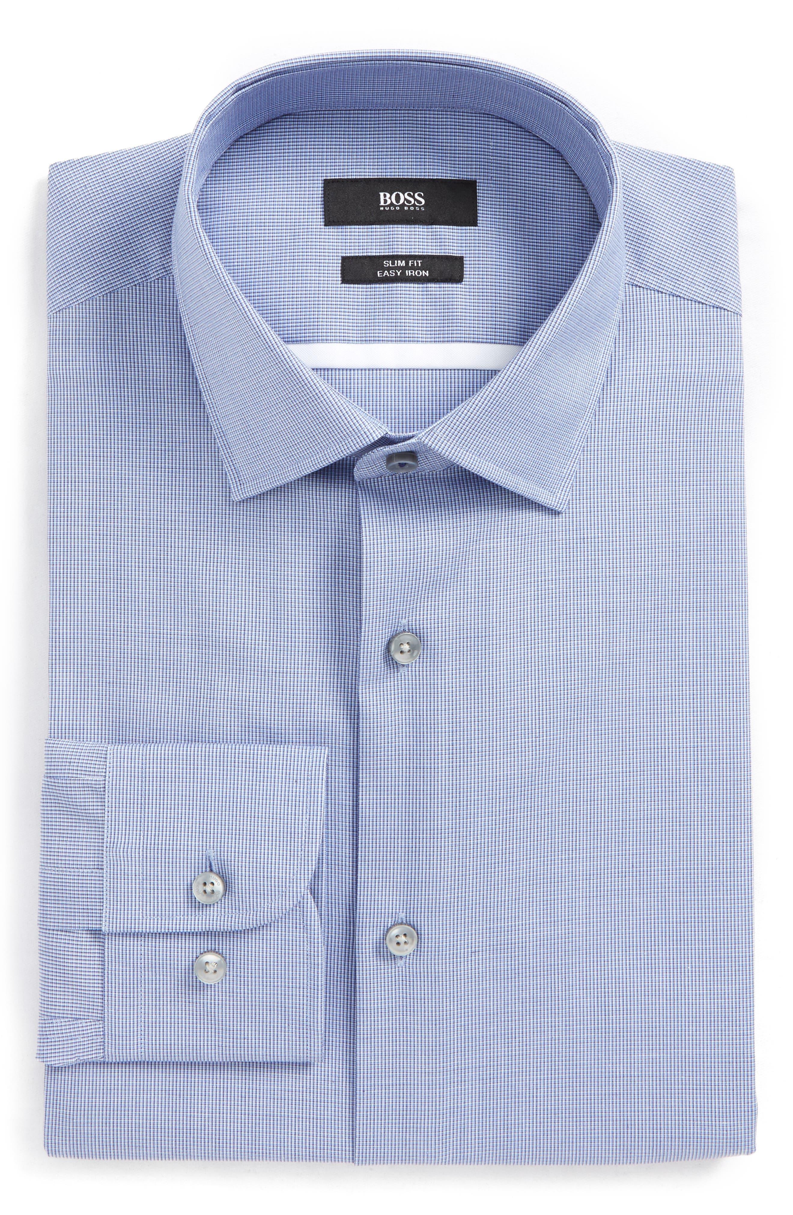 Jerris Slim Fit Easy Iron Check Dress Shirt,                             Alternate thumbnail 3, color,                             NAVY
