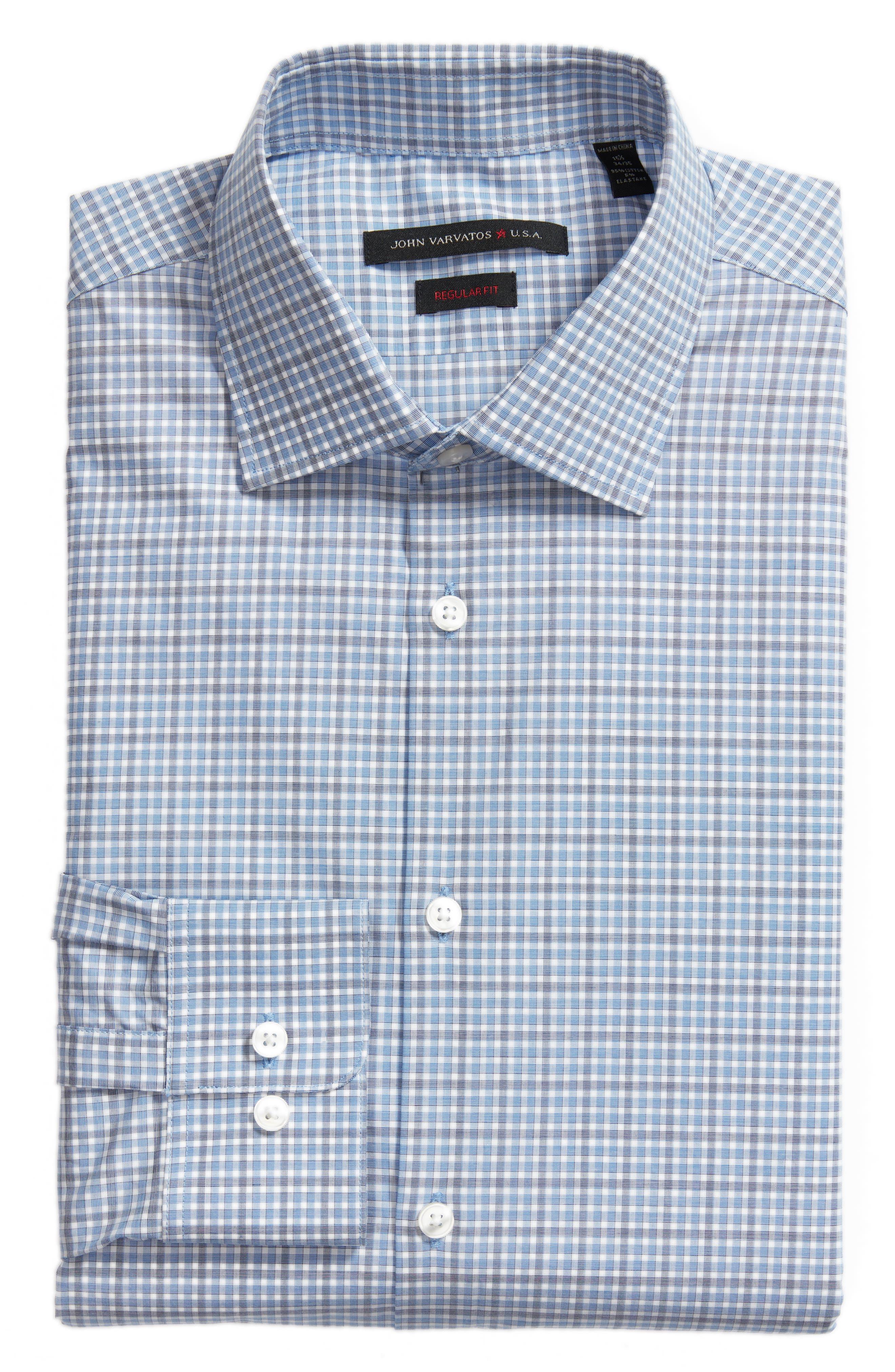Regular Fit Stretch Check Dress Shirt,                             Alternate thumbnail 5, color,                             SKY