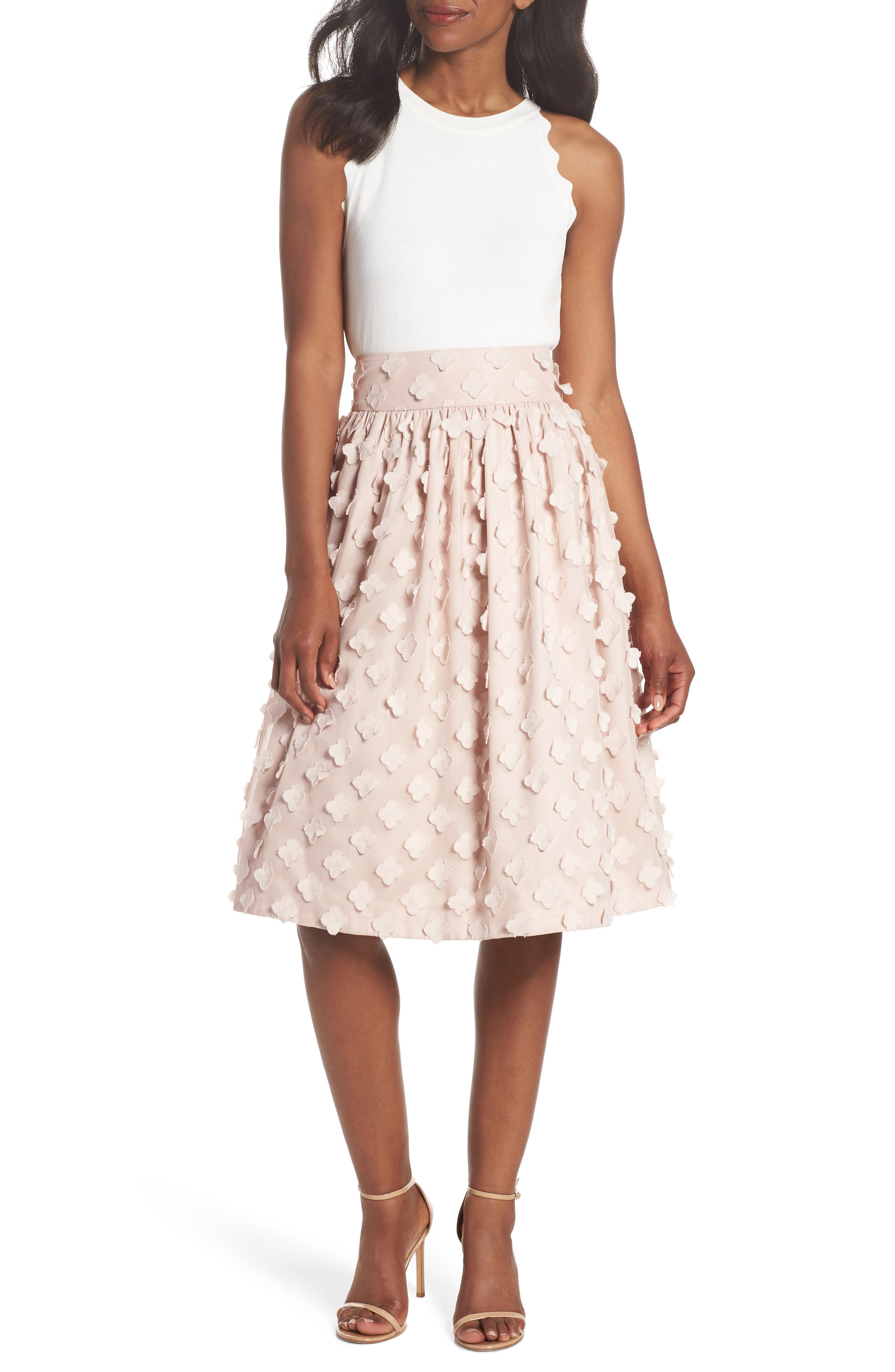Flower Texture Gathered Skirt,                             Alternate thumbnail 7, color,                             BLUSH