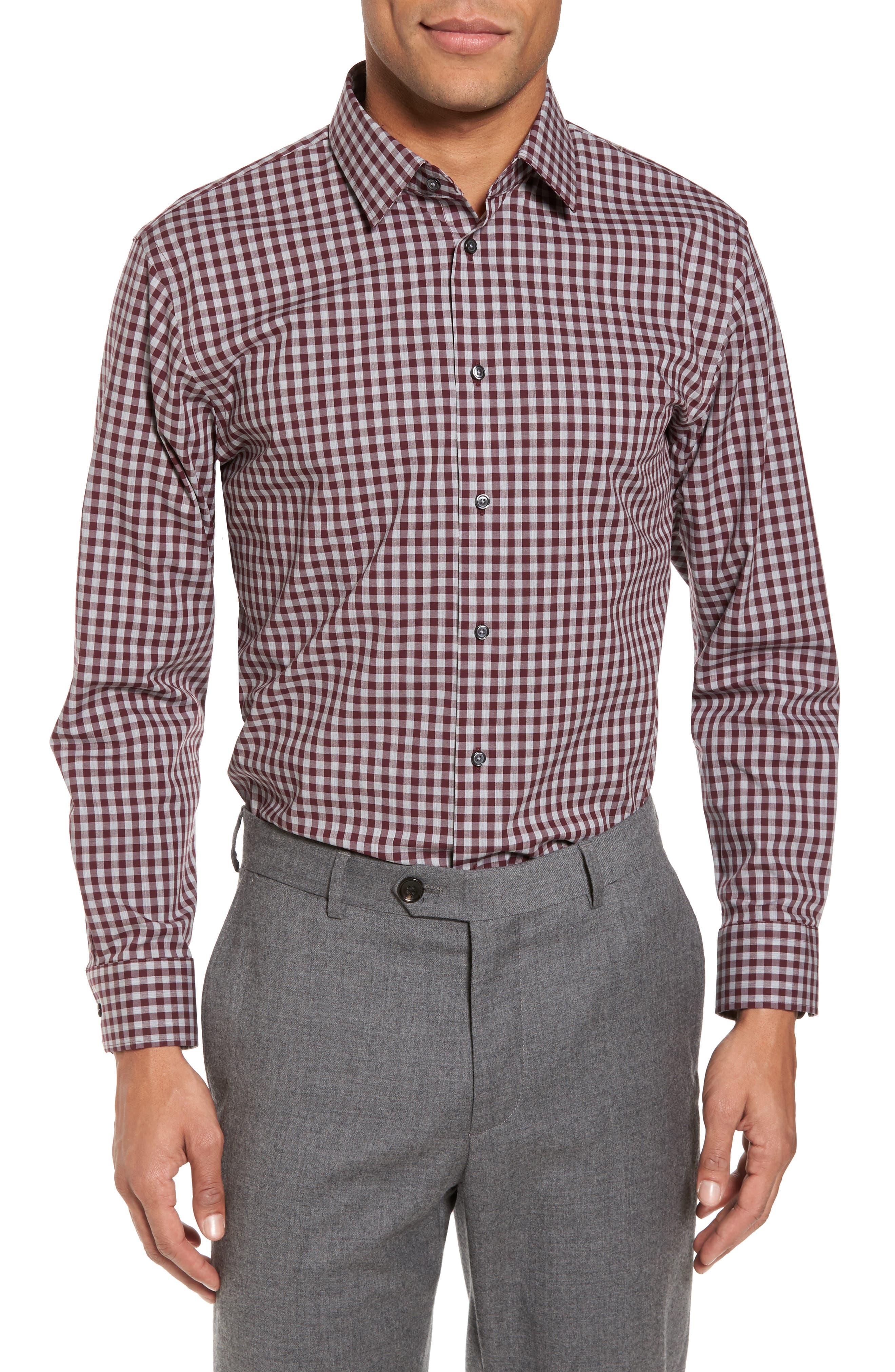 Trim Fit No-Iron Check Stretch Dress Shirt,                         Main,                         color, 930