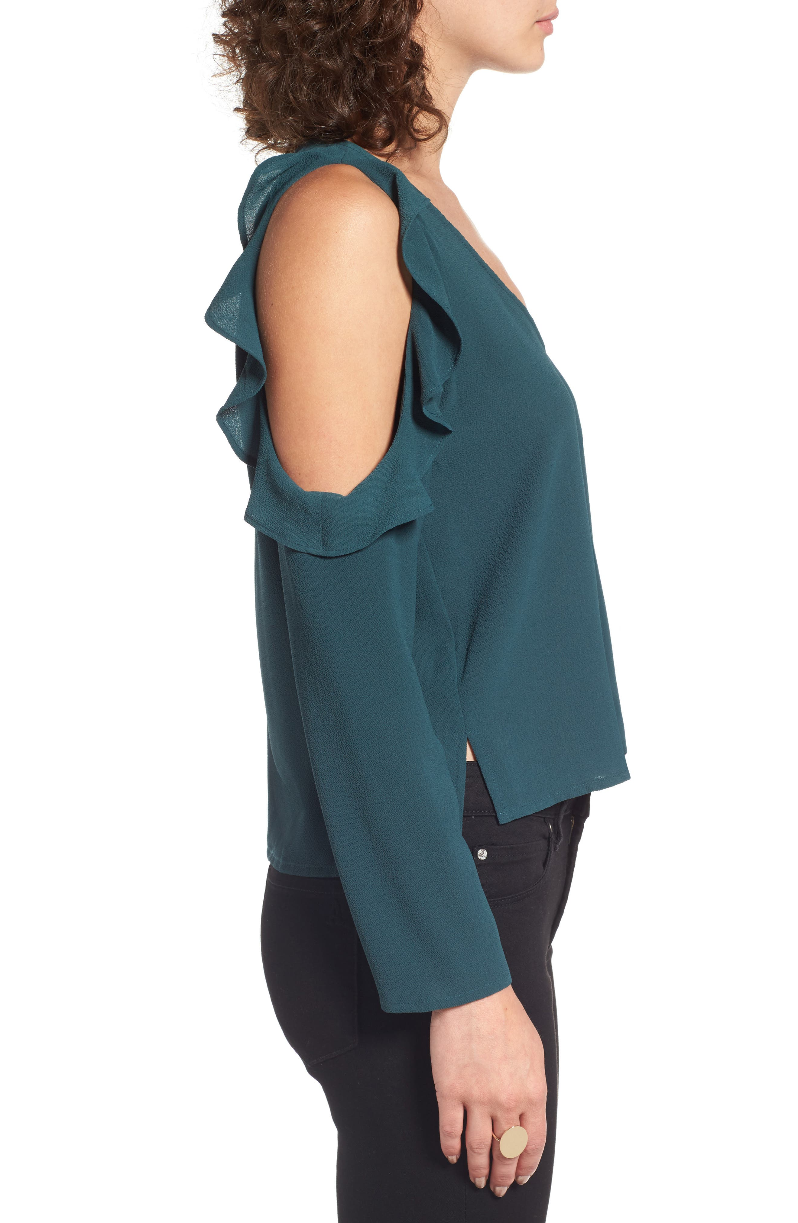 Cold Shoulder Ruffle Top,                             Alternate thumbnail 3, color,                             310