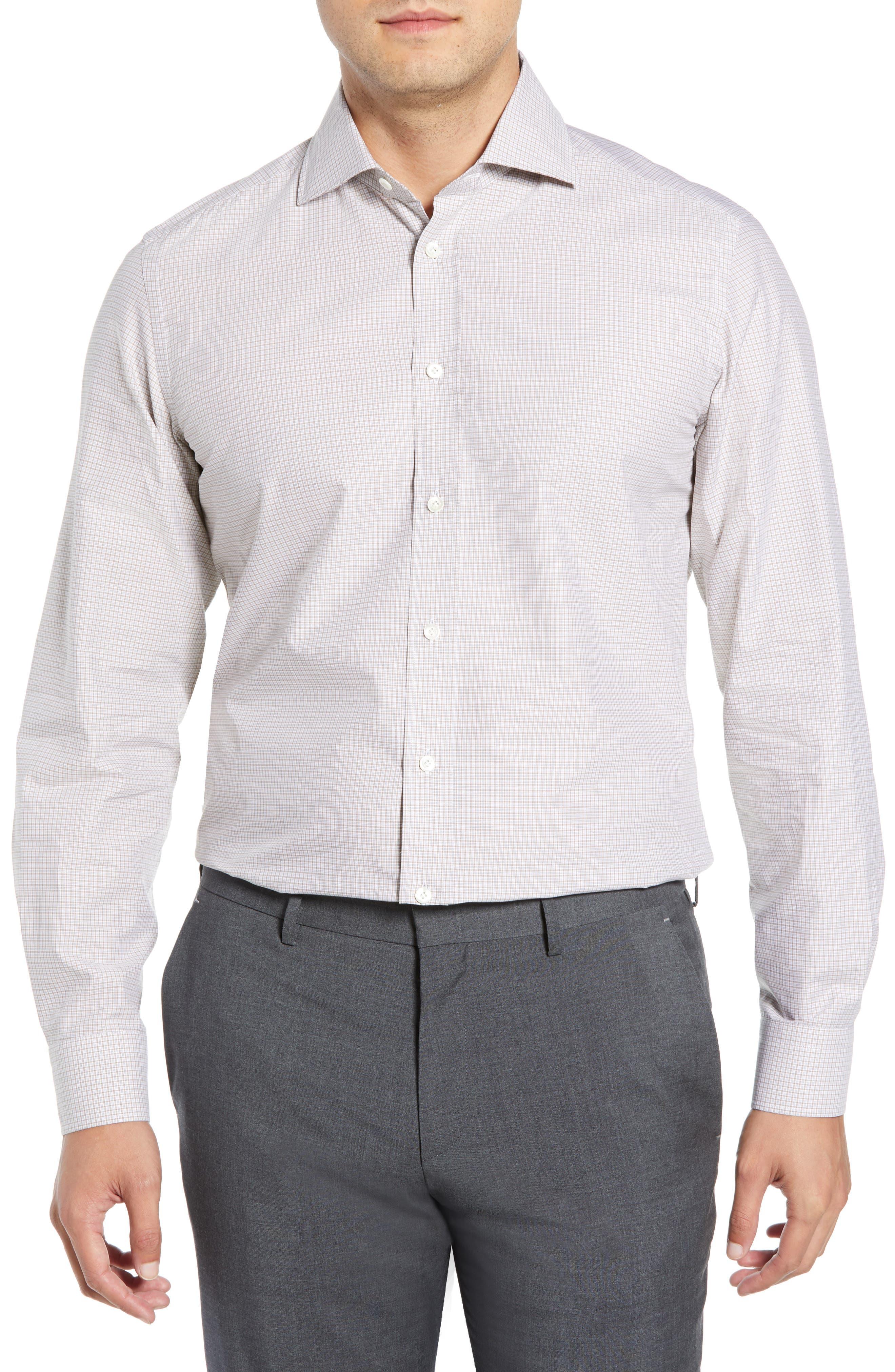 Slim Fit Check Dress Shirt,                         Main,                         color, TAN