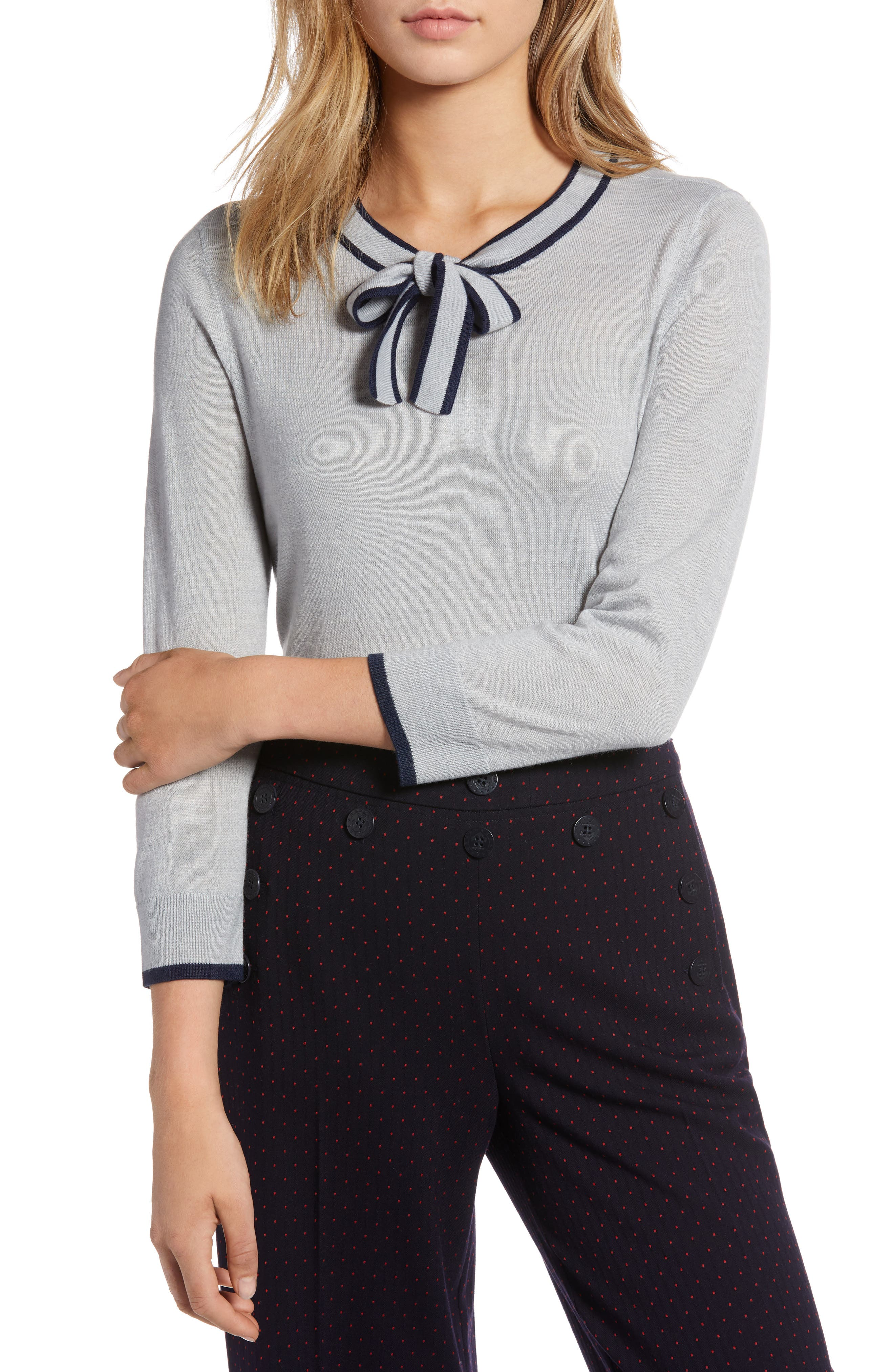 Tipped Tie Neck Wool Blend Sweater,                         Main,                         color, 030