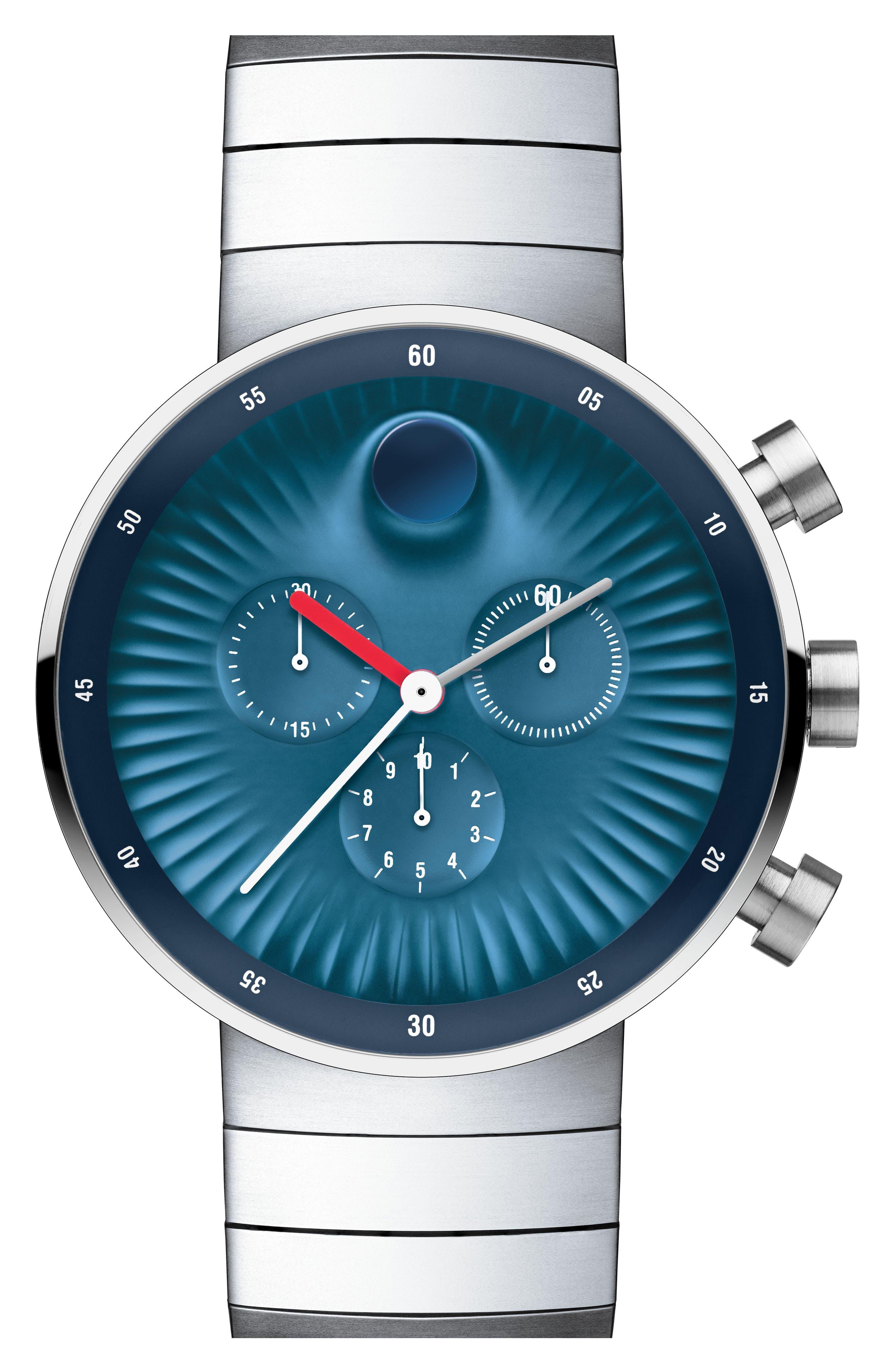 'Edge' Bracelet Watch, 42mm,                             Alternate thumbnail 2, color,                             SILVER/ BLUE