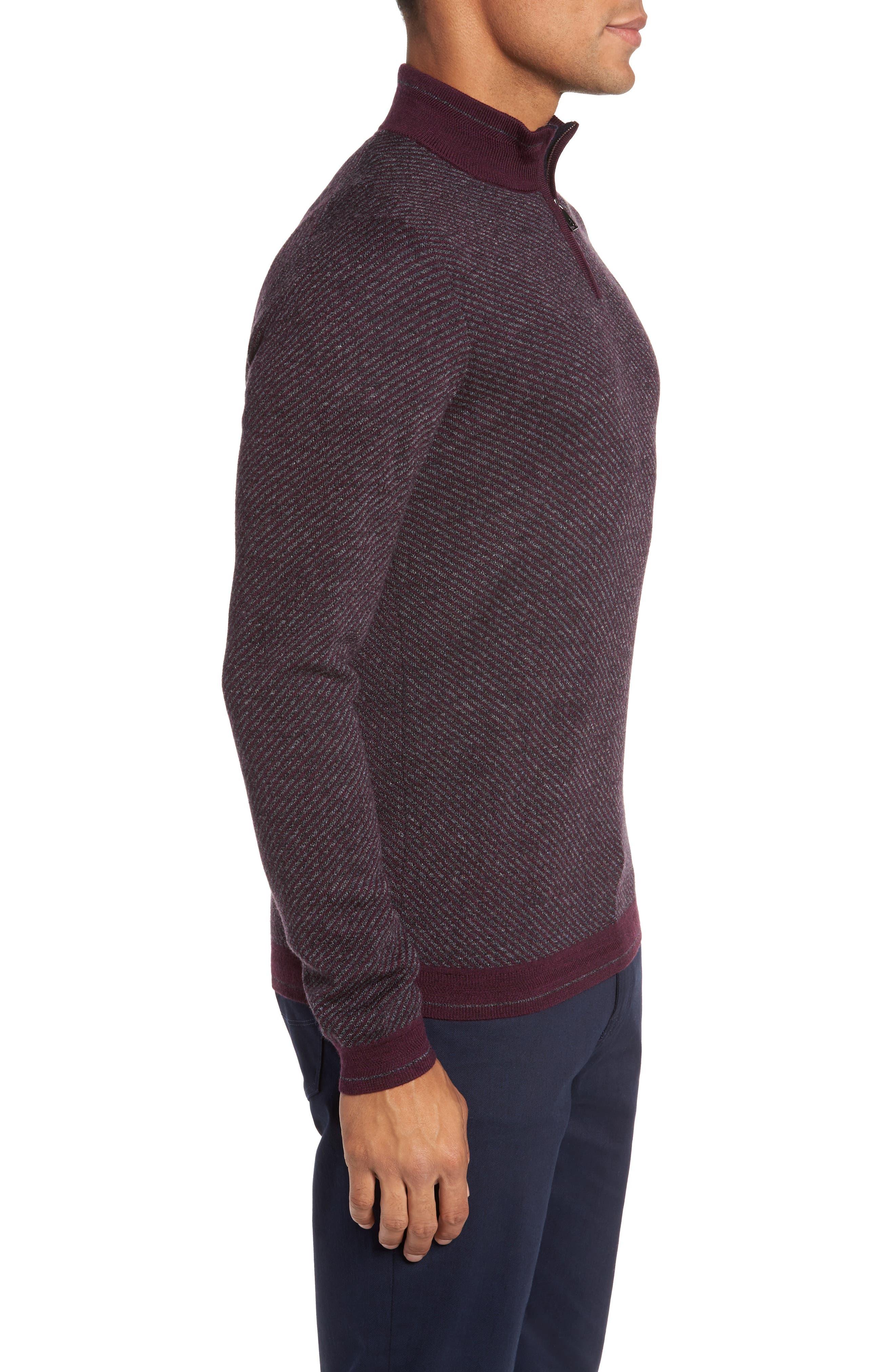 Stripe Quarter Zip Sweater,                             Alternate thumbnail 6, color,