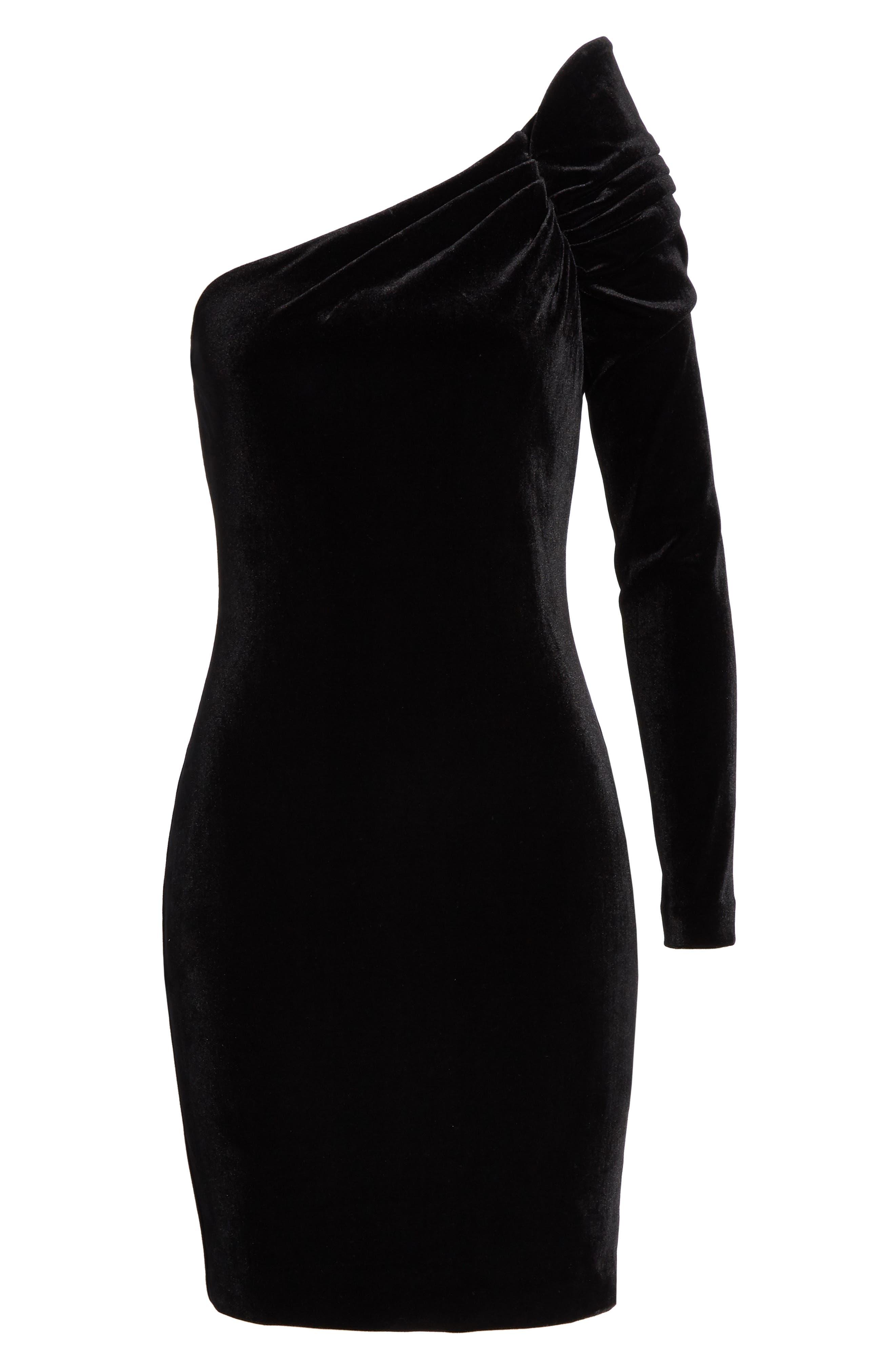 Awwtum One-Shoulder Velvet Body-Con Dress,                             Alternate thumbnail 6, color,                             BLACK