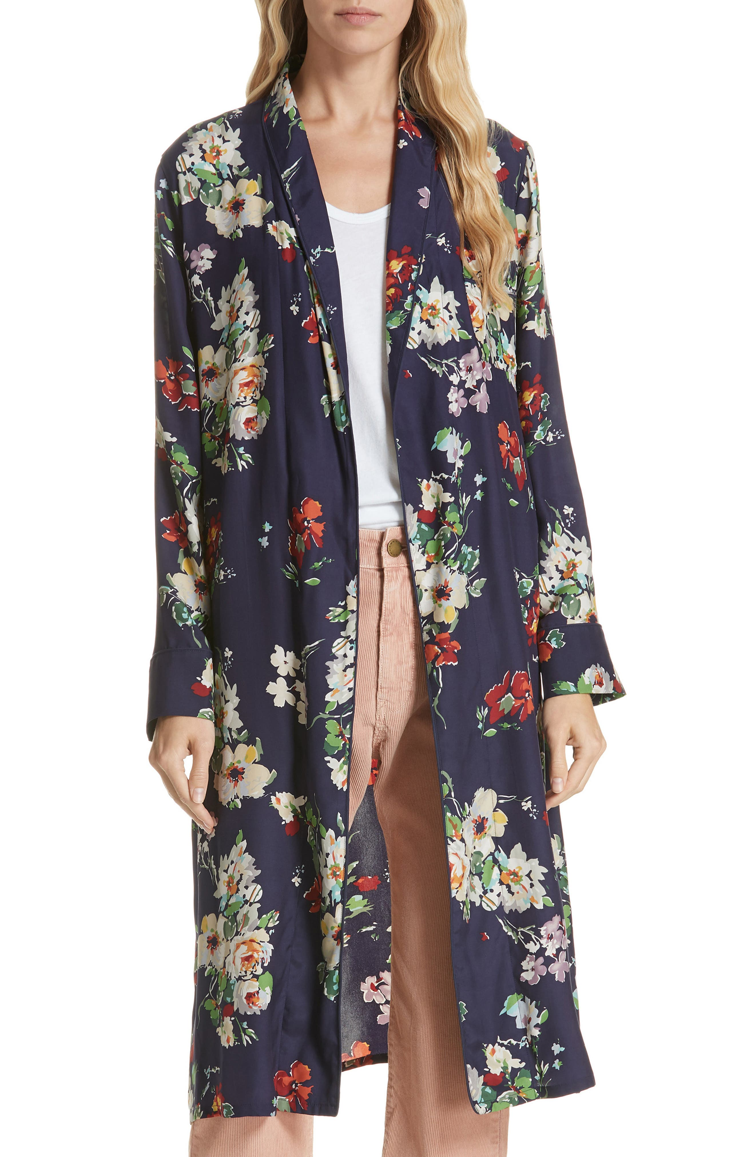 Floral Silk Robe Jacket,                         Main,                         color, 460